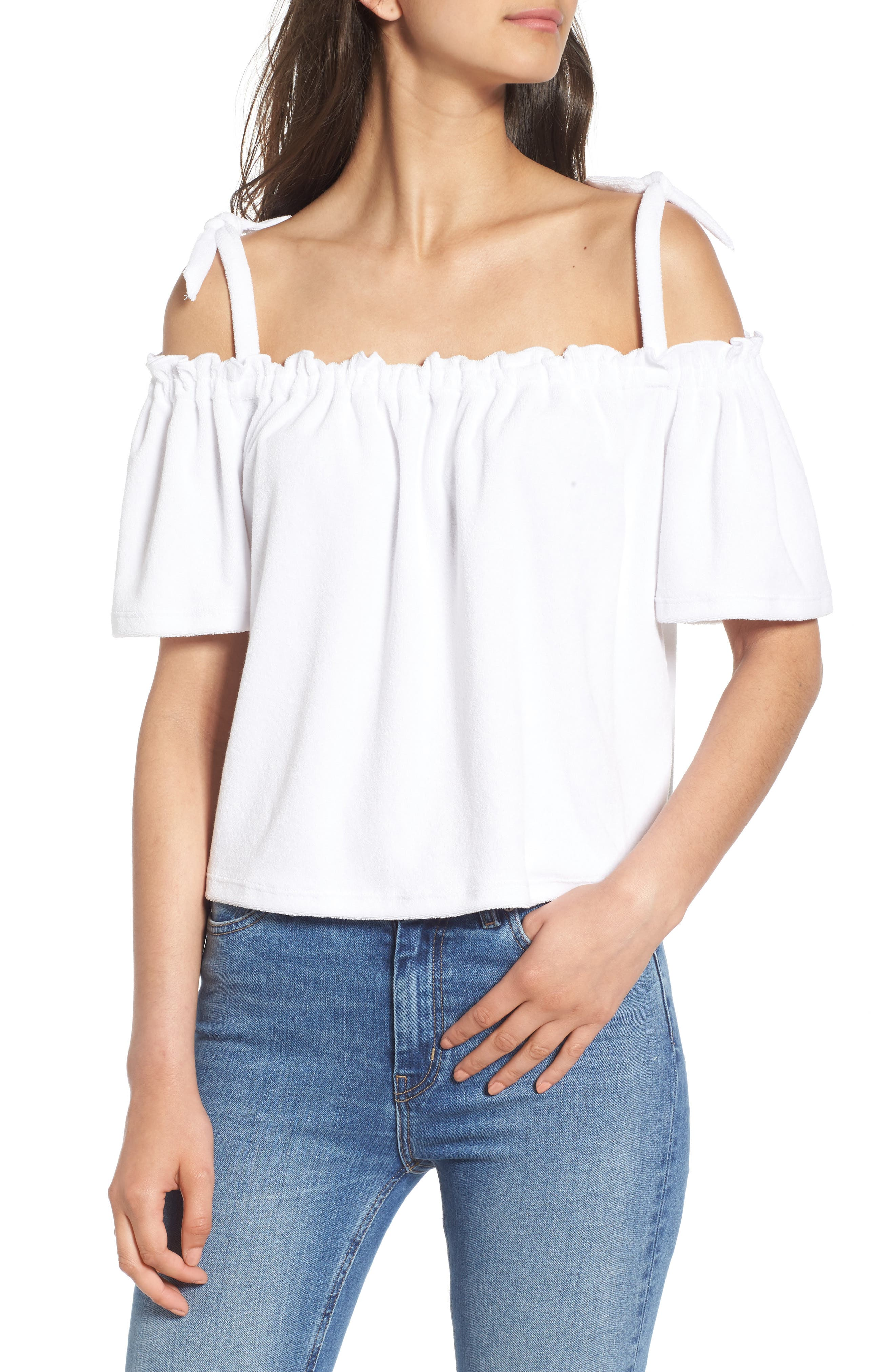 Main Image - Juicy Couture Venice Beach Microterry Off the Shoulder Top