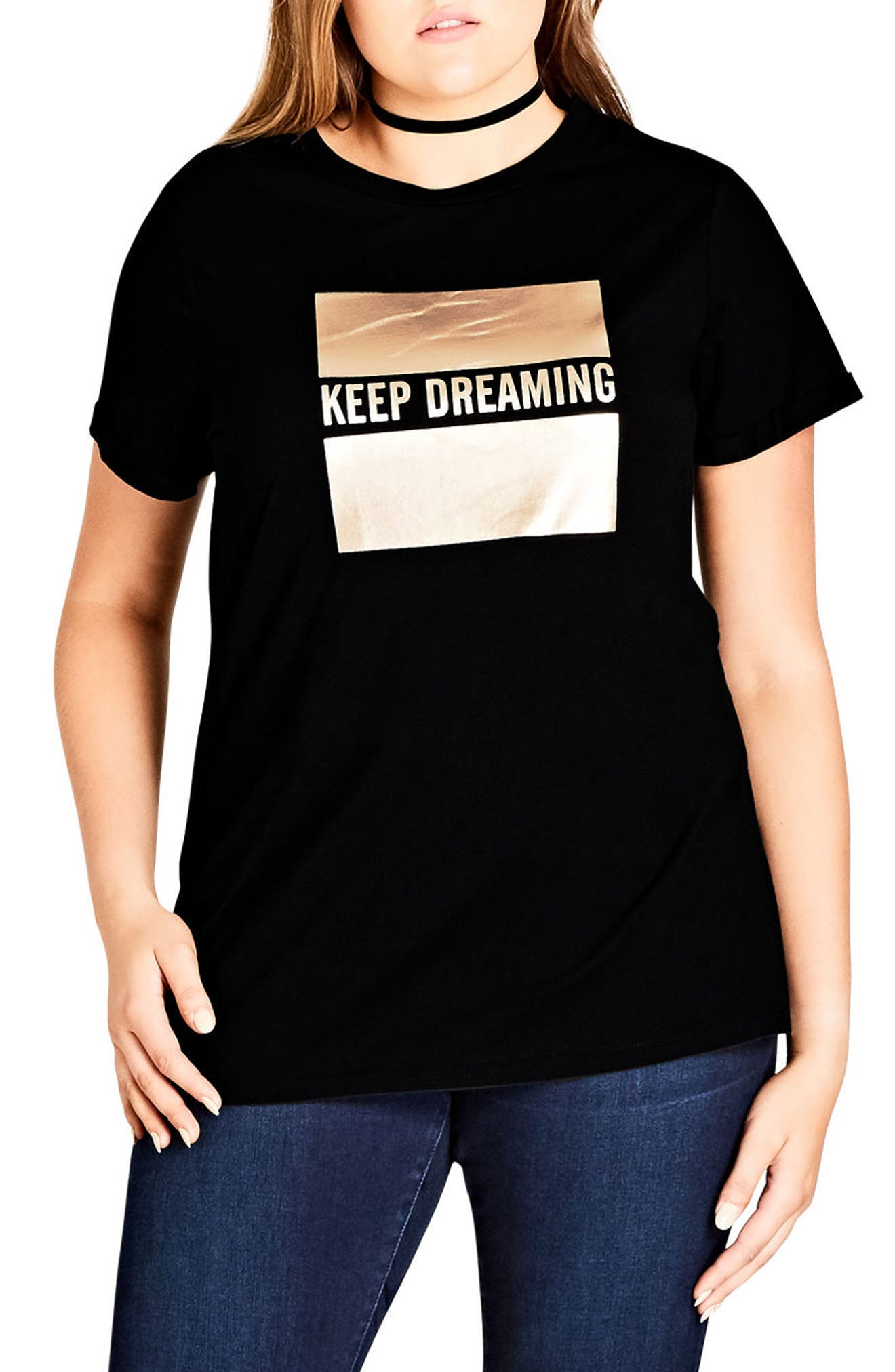 Main Image - City Chic Dreaming Graphic Tee (Plus Size)