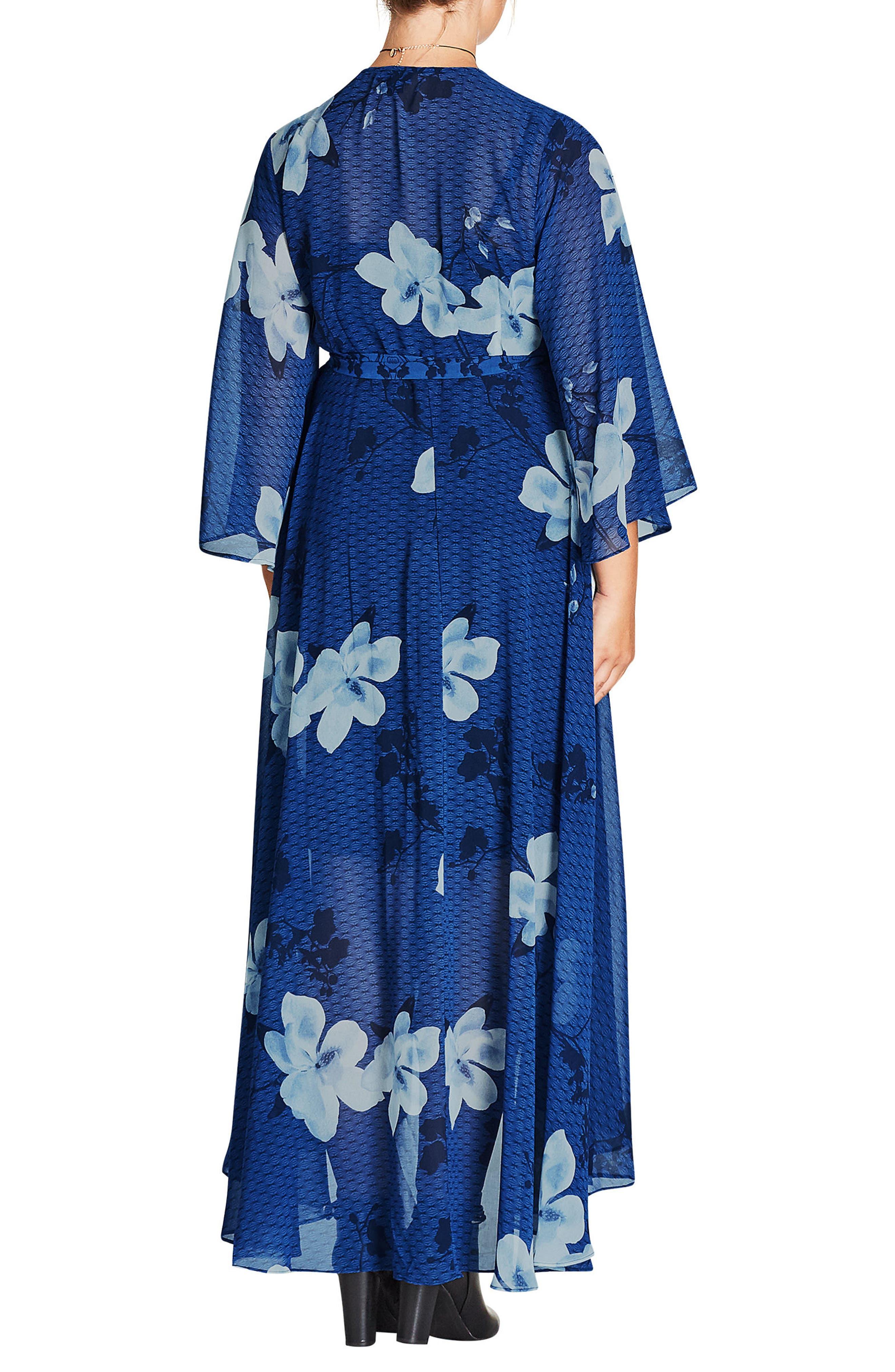 Blue Magnolia Maxi Wrap Dress,                             Alternate thumbnail 2, color,                             Blue Magnolia