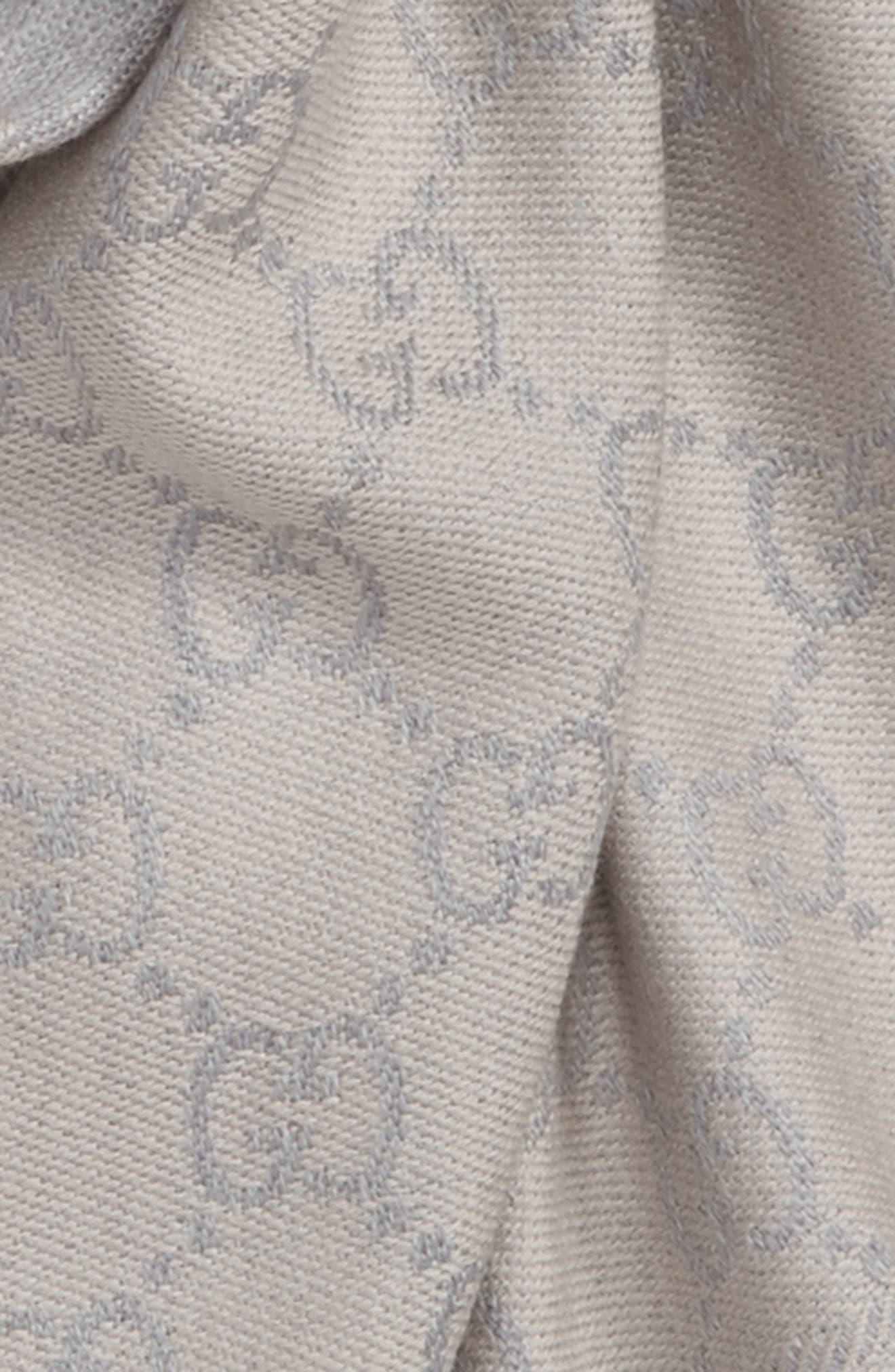 GG Jacquard Wool Scarf,                             Alternate thumbnail 3, color,                             1763 Zinc/Ight Grey