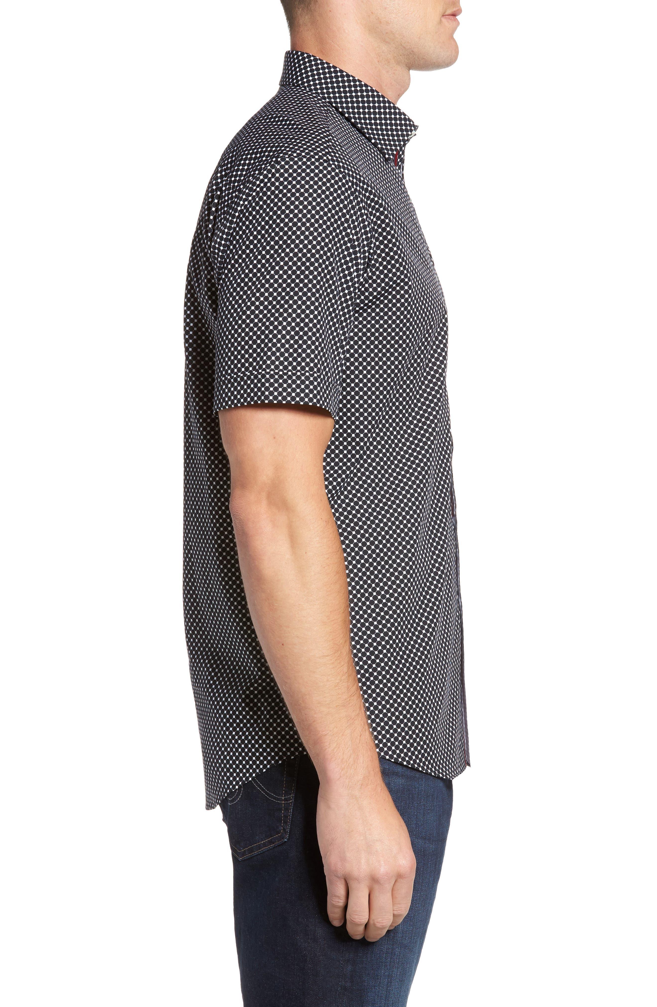 Shaped Fit Spot Grid Sport Shirt,                             Alternate thumbnail 3, color,                             Black