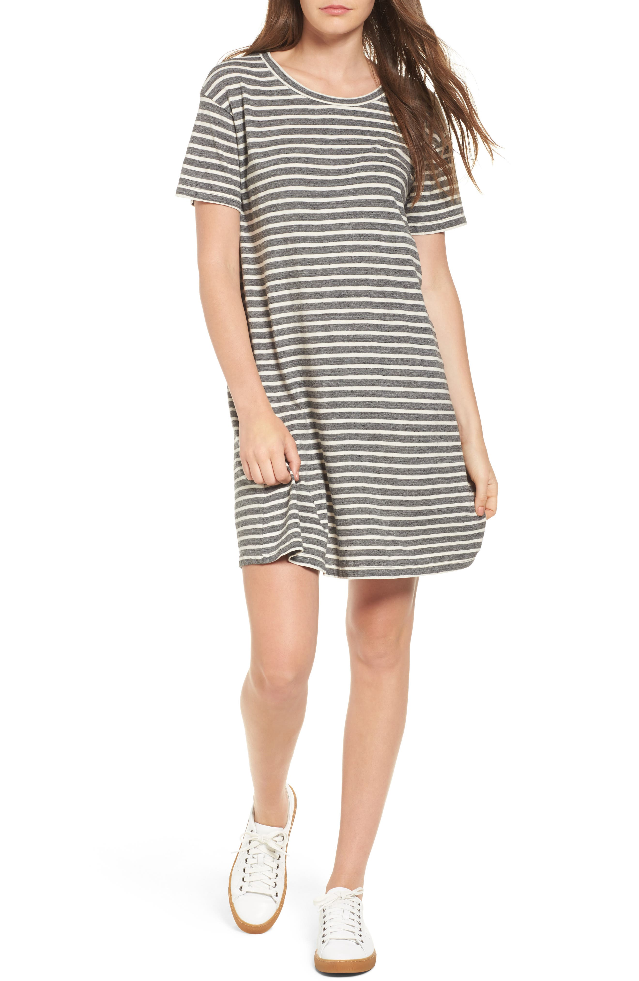 Stripe Knit T-Shirt Dress,                         Main,                         color, Charcoal Anchor Stripe