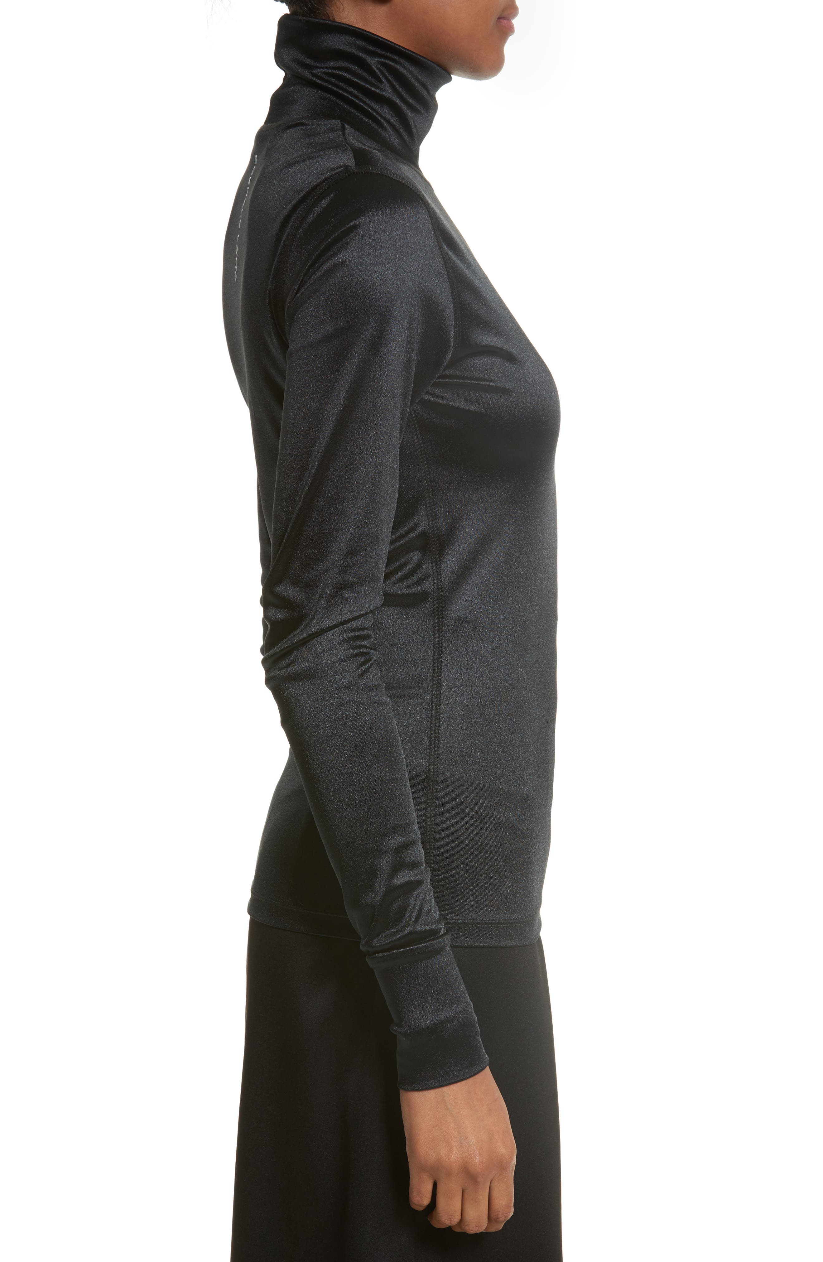 Sleek Stretch Turtleneck,                             Alternate thumbnail 4, color,                             Black