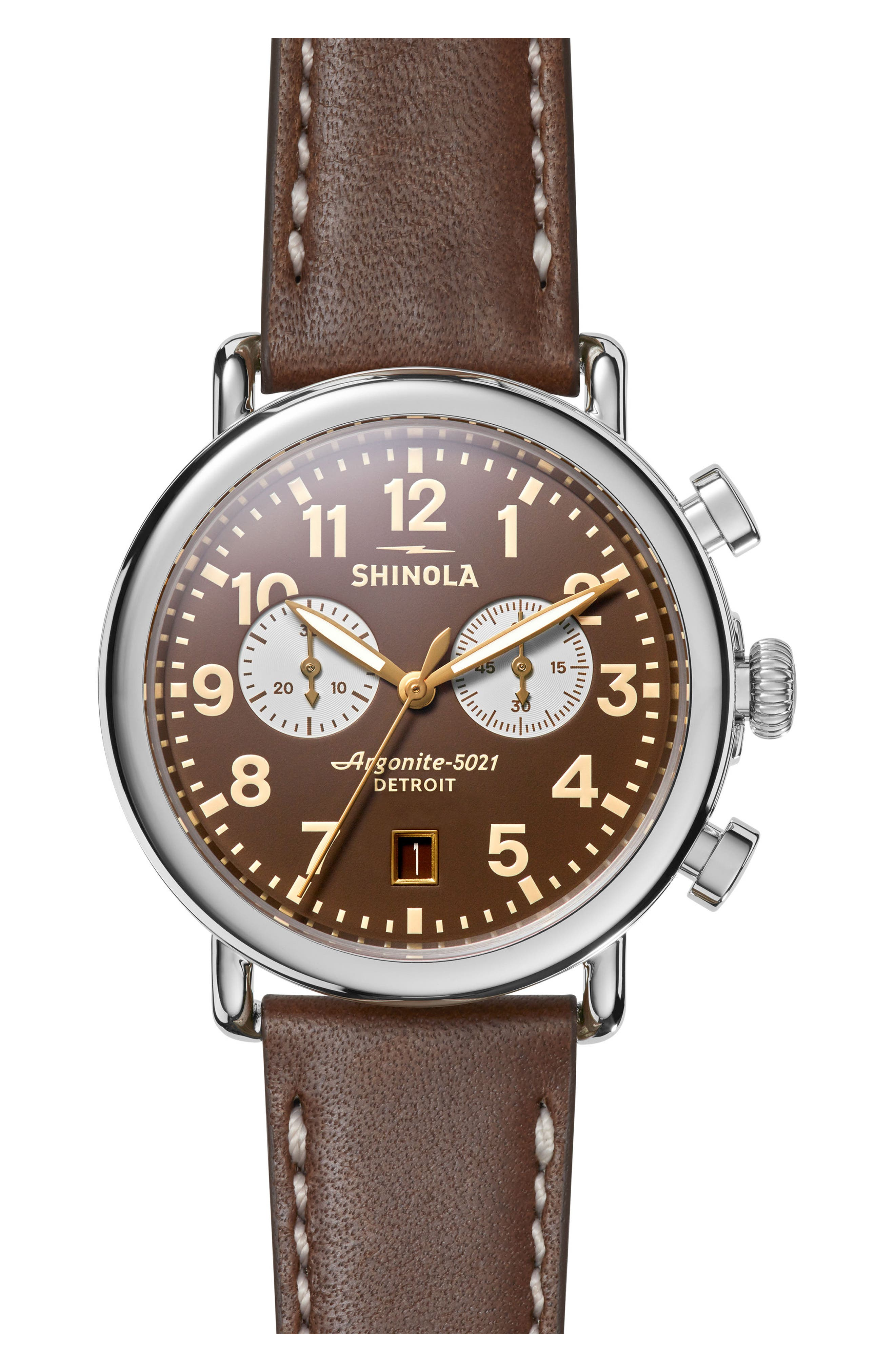 SHINOLA The Runwell Chrono Leather Strap Watch, 41mm