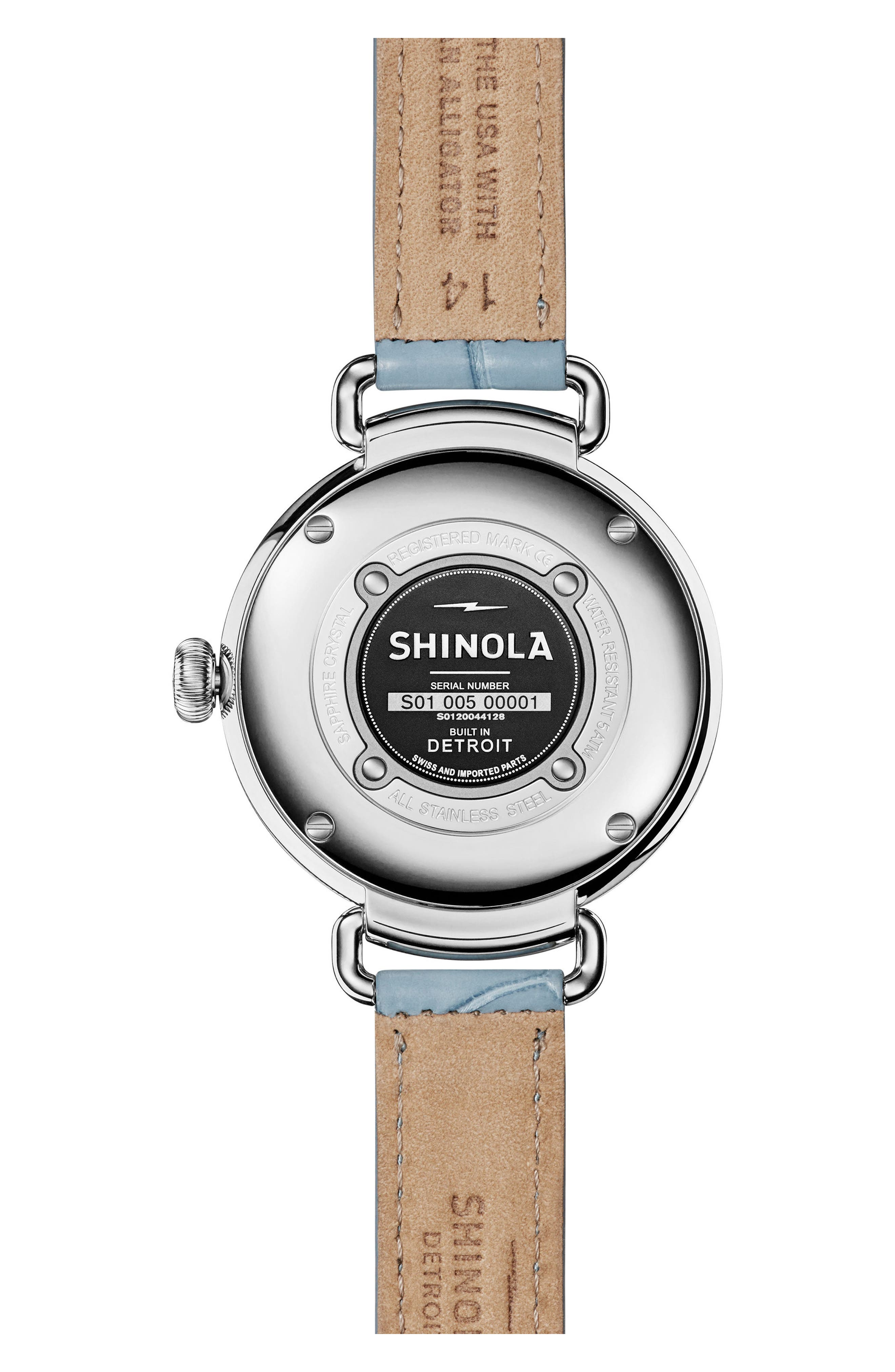 The Canfield Alligator Strap Watch, 38mm,                             Alternate thumbnail 2, color,                             Slate Blue/ Silver