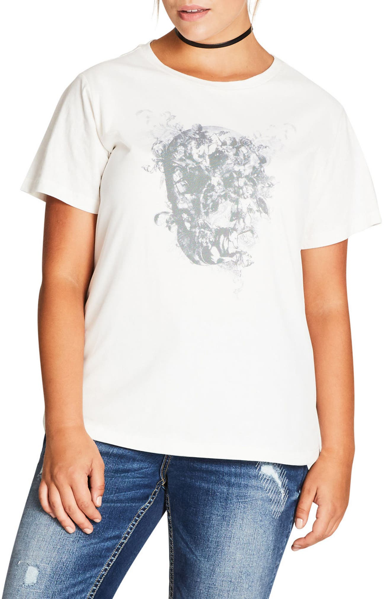 City Chic Skull Love Graphic Tee (Plus Size)