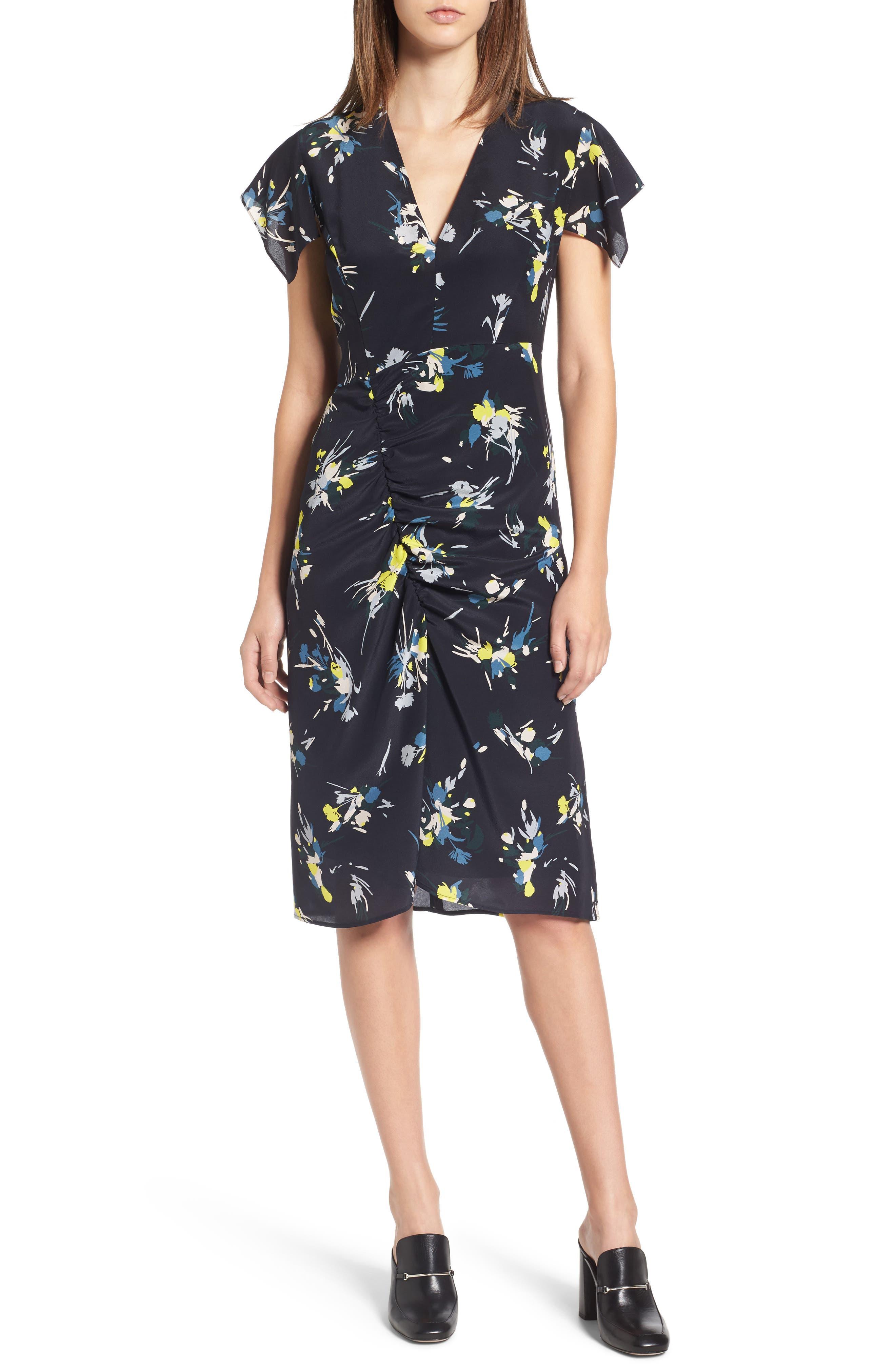Print Silk Dress,                             Main thumbnail 1, color,                             Navy Night Marlow Floral
