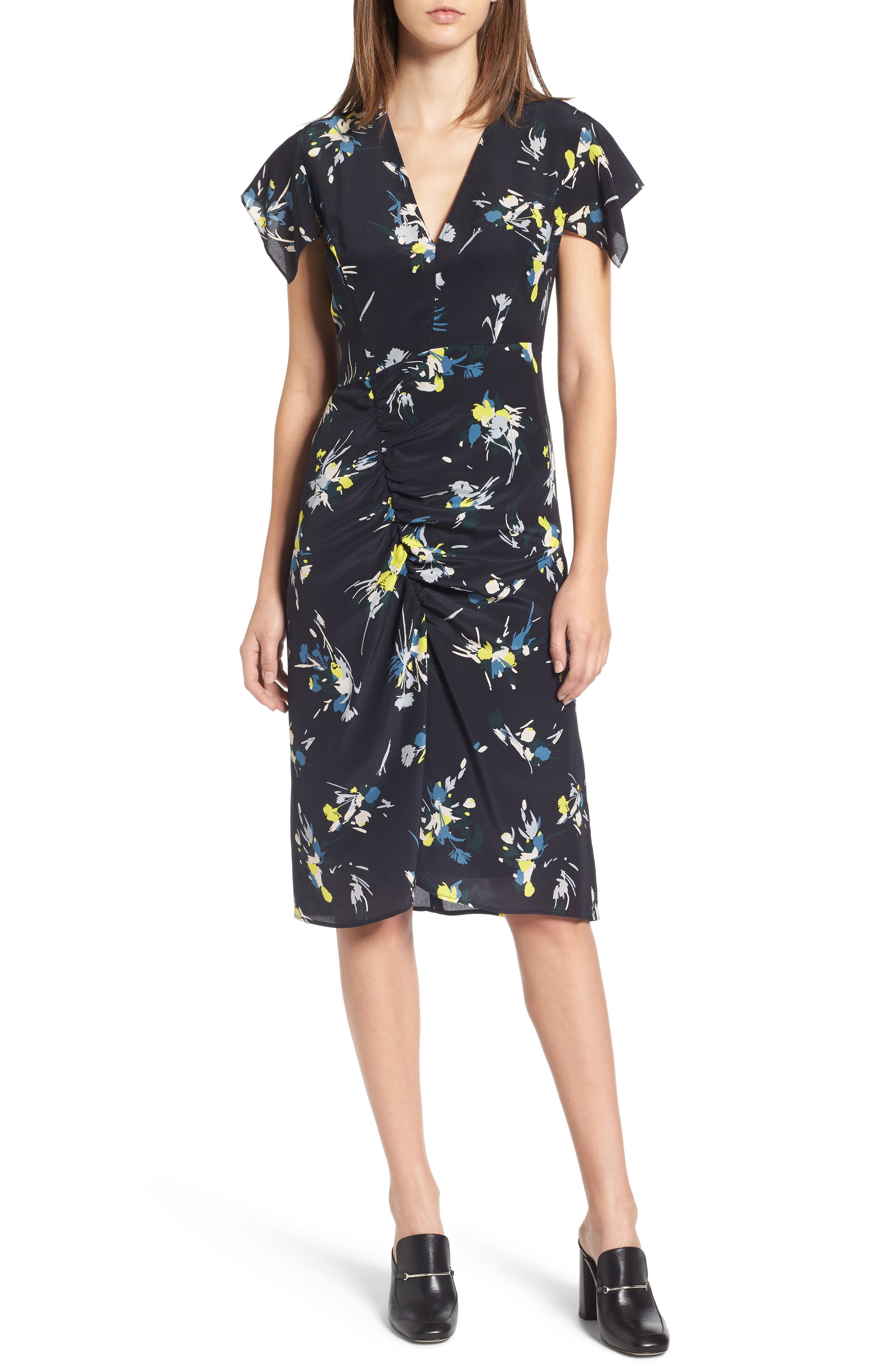 Print Silk Dress,                         Main,                         color, Navy Night Marlow Floral