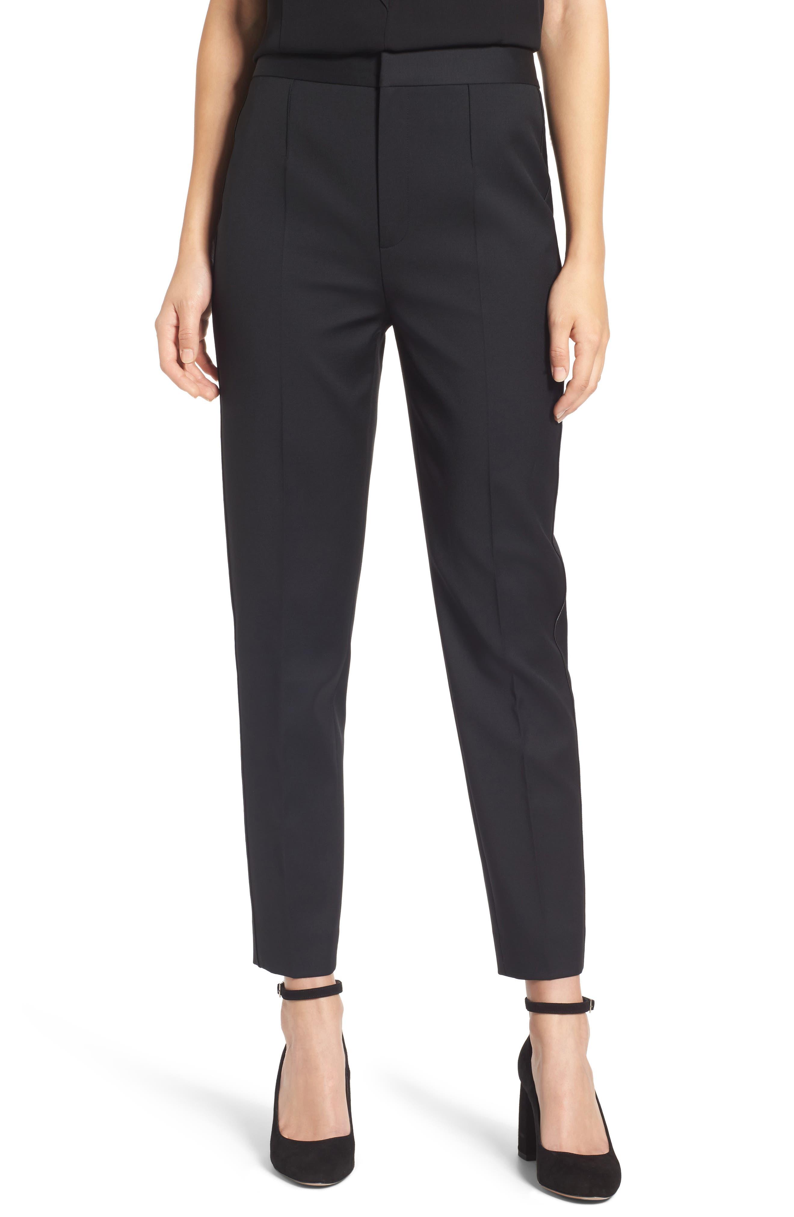 Tuxedo Detail Suit Trousers,                         Main,                         color, Black