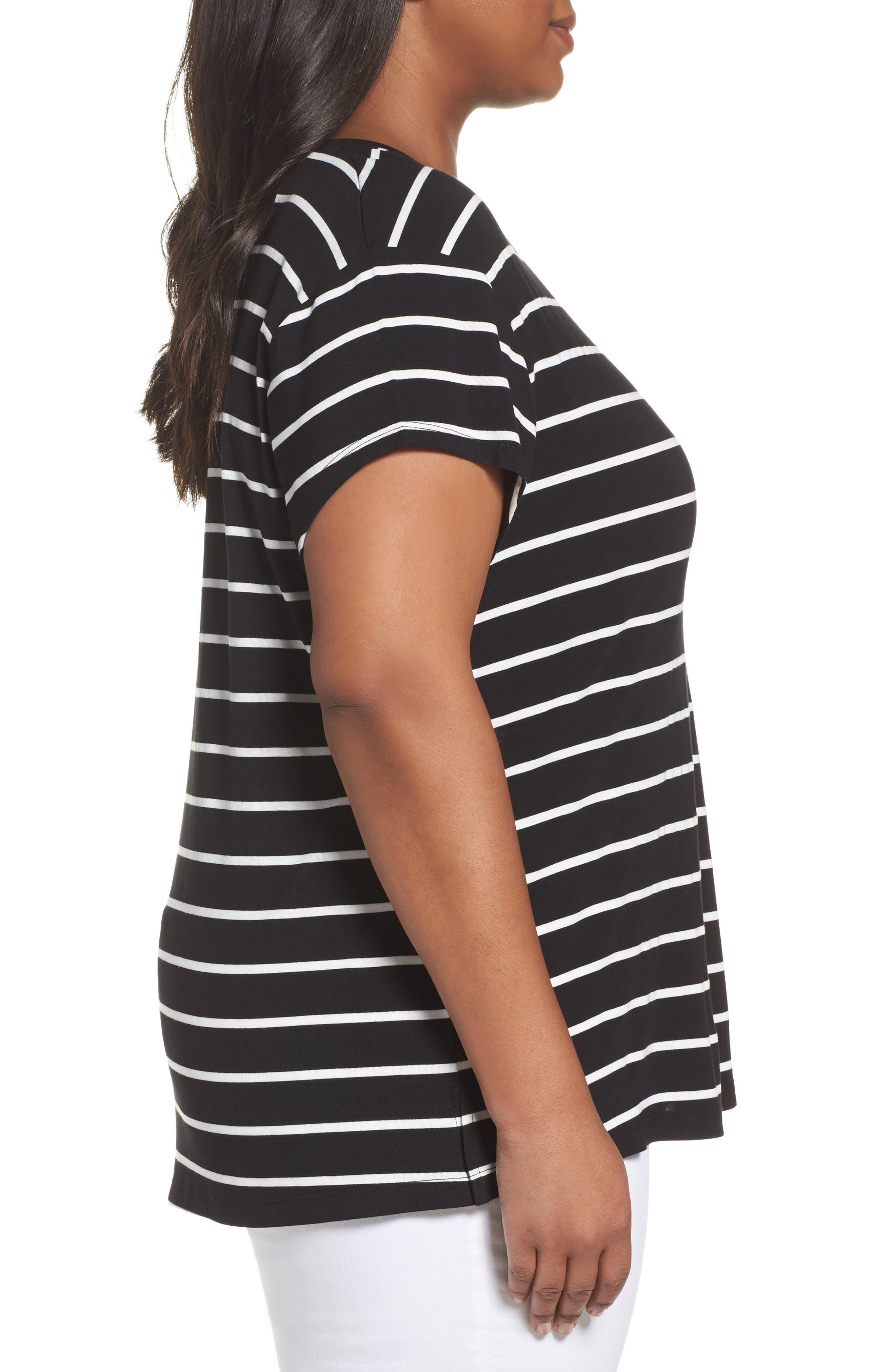 Alternate Image 3  - Sejour Stripe Tie Back Tee (Plus Size)