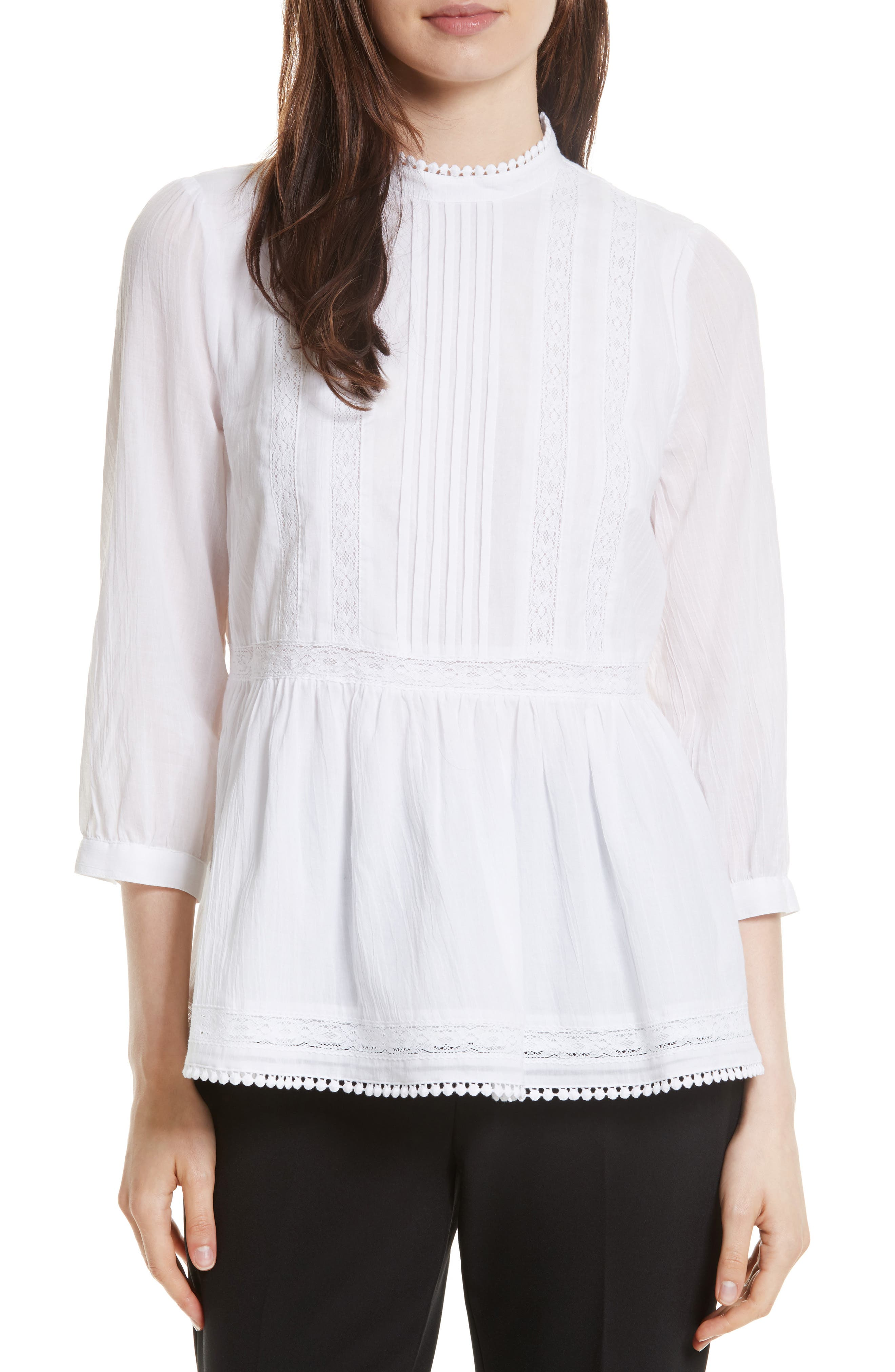 lace inset flounce top,                         Main,                         color, White