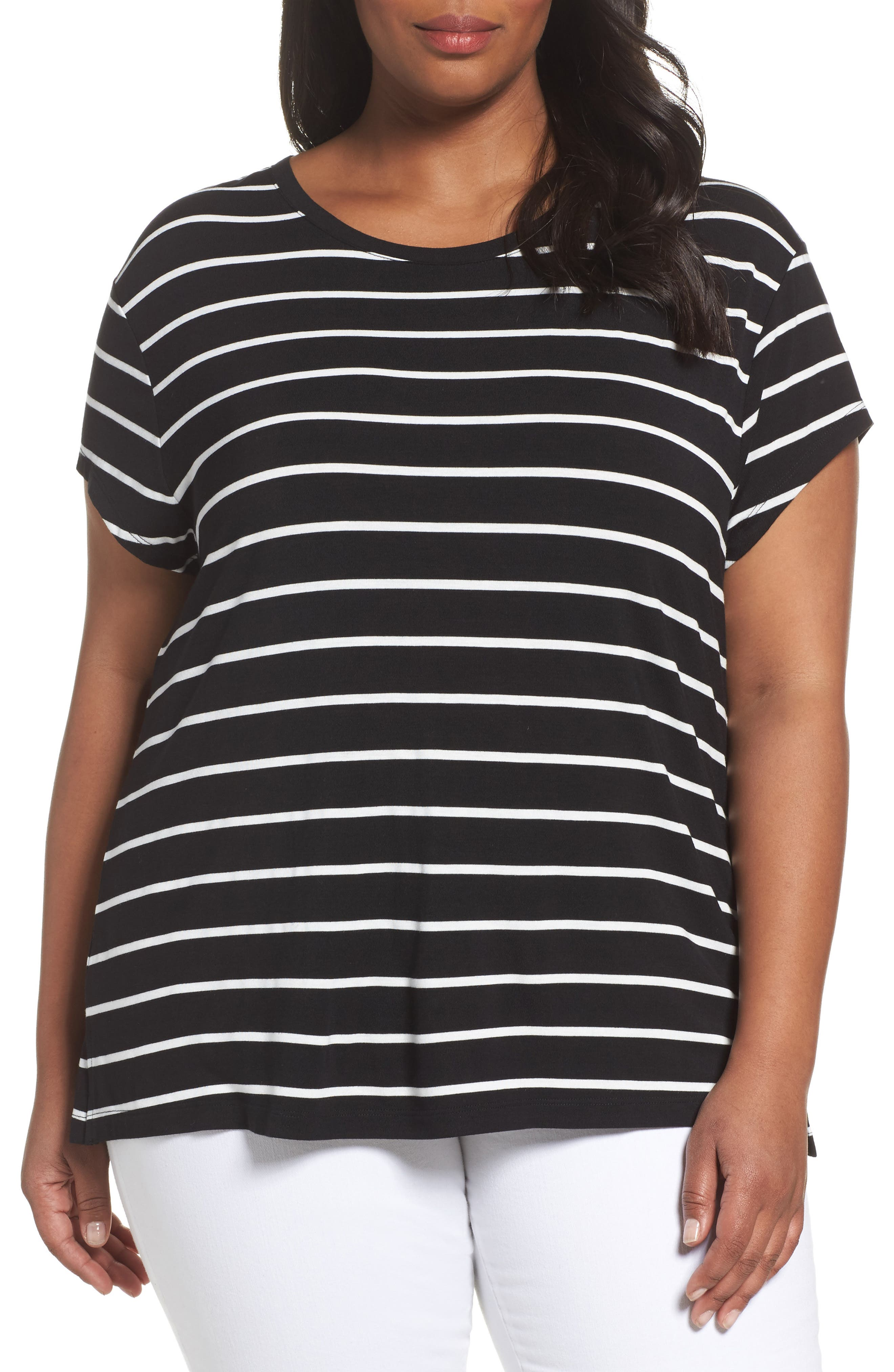 Alternate Image 1 Selected - Sejour Stripe Tie Back Tee (Plus Size)