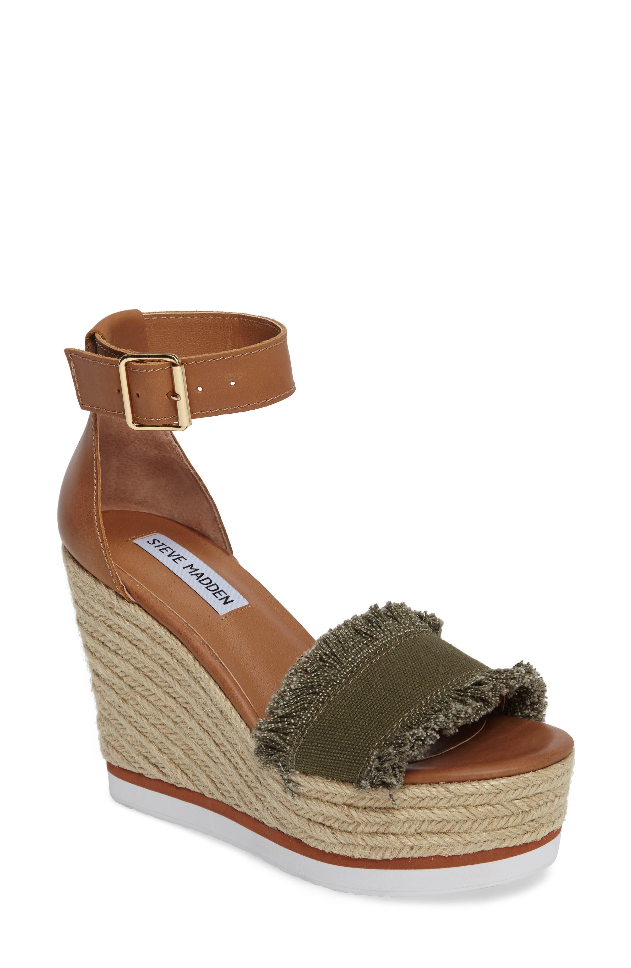 Valley Fringed Platform Wedge Sandal,                             Main thumbnail 1, color,                             Olive Fab