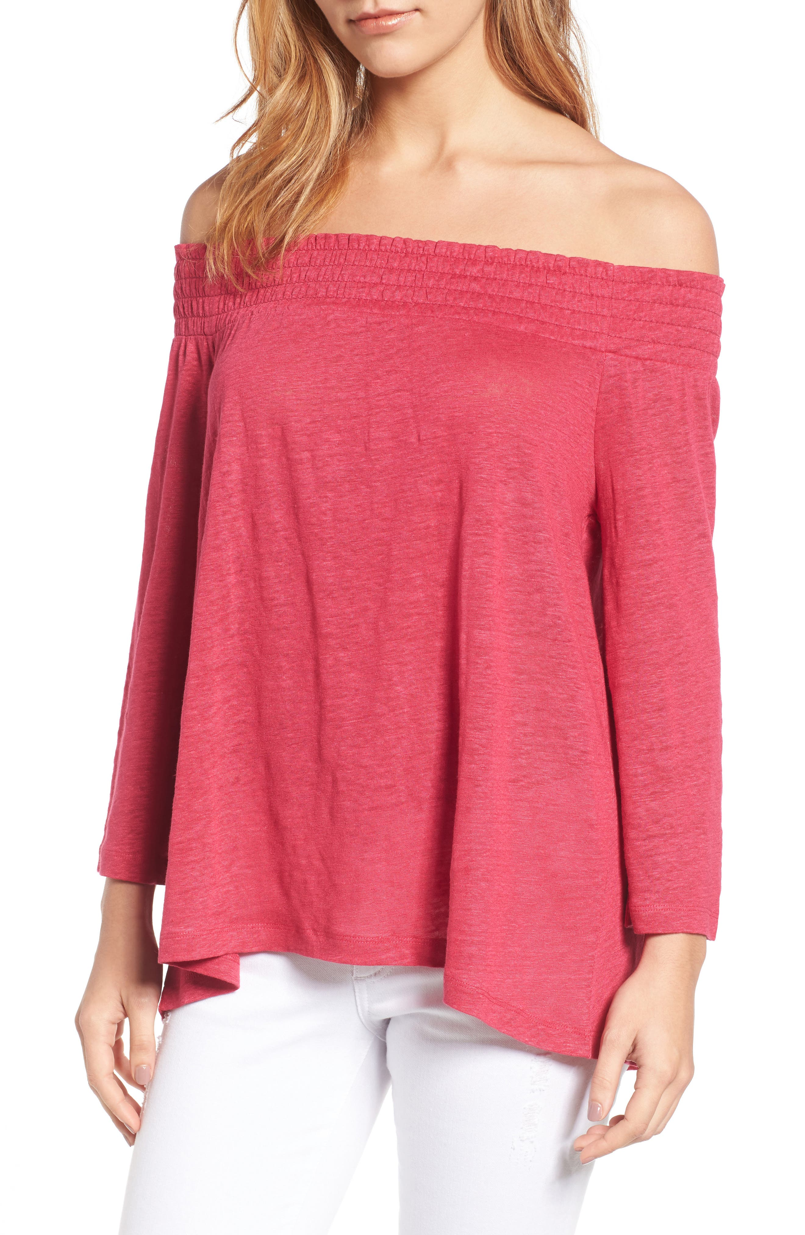 Main Image - Caslon® Off the Shoulder Linen Knit Top (Regular & Petite)