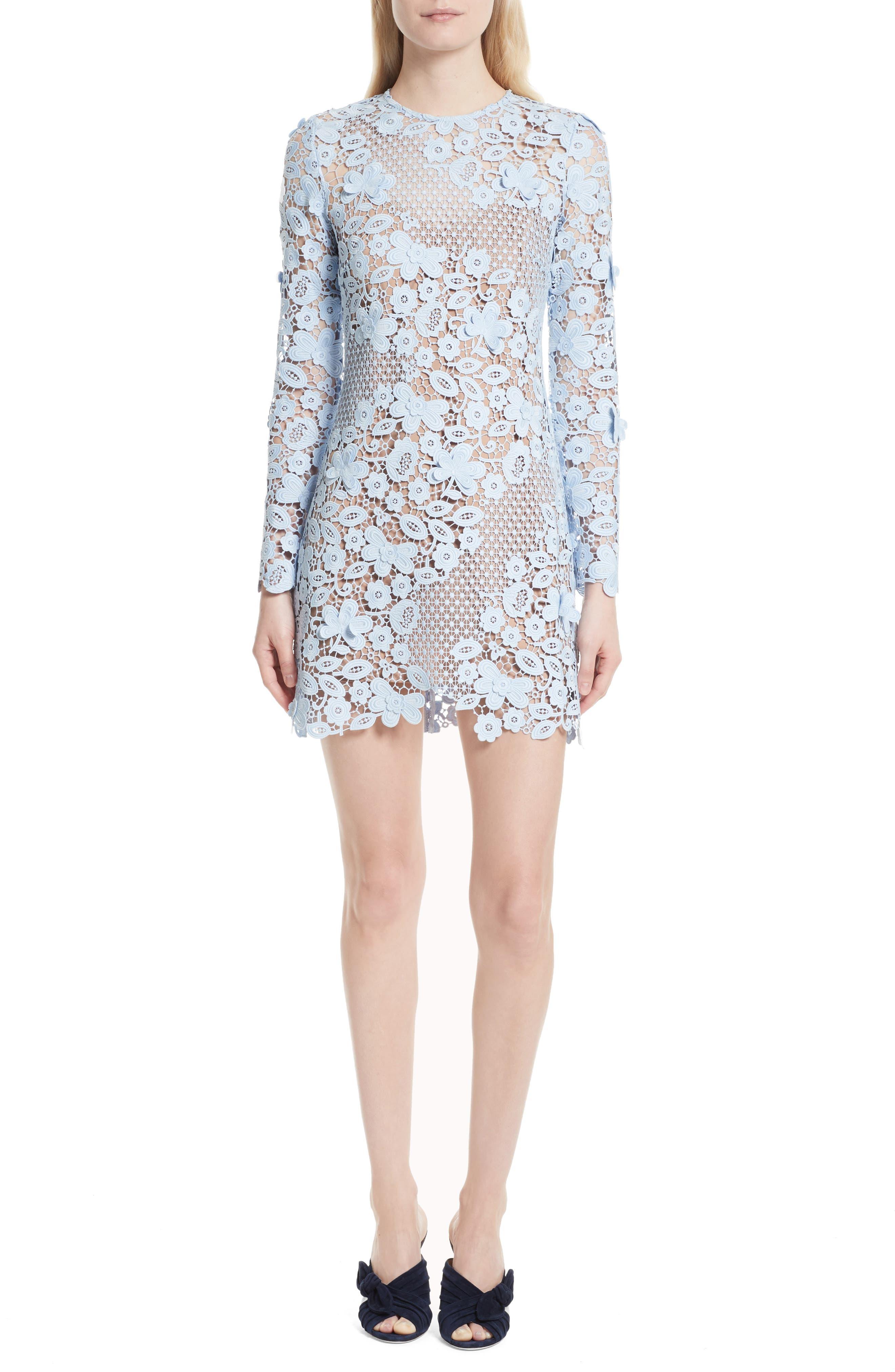 3D Floral Minidress,                         Main,                         color, Blue