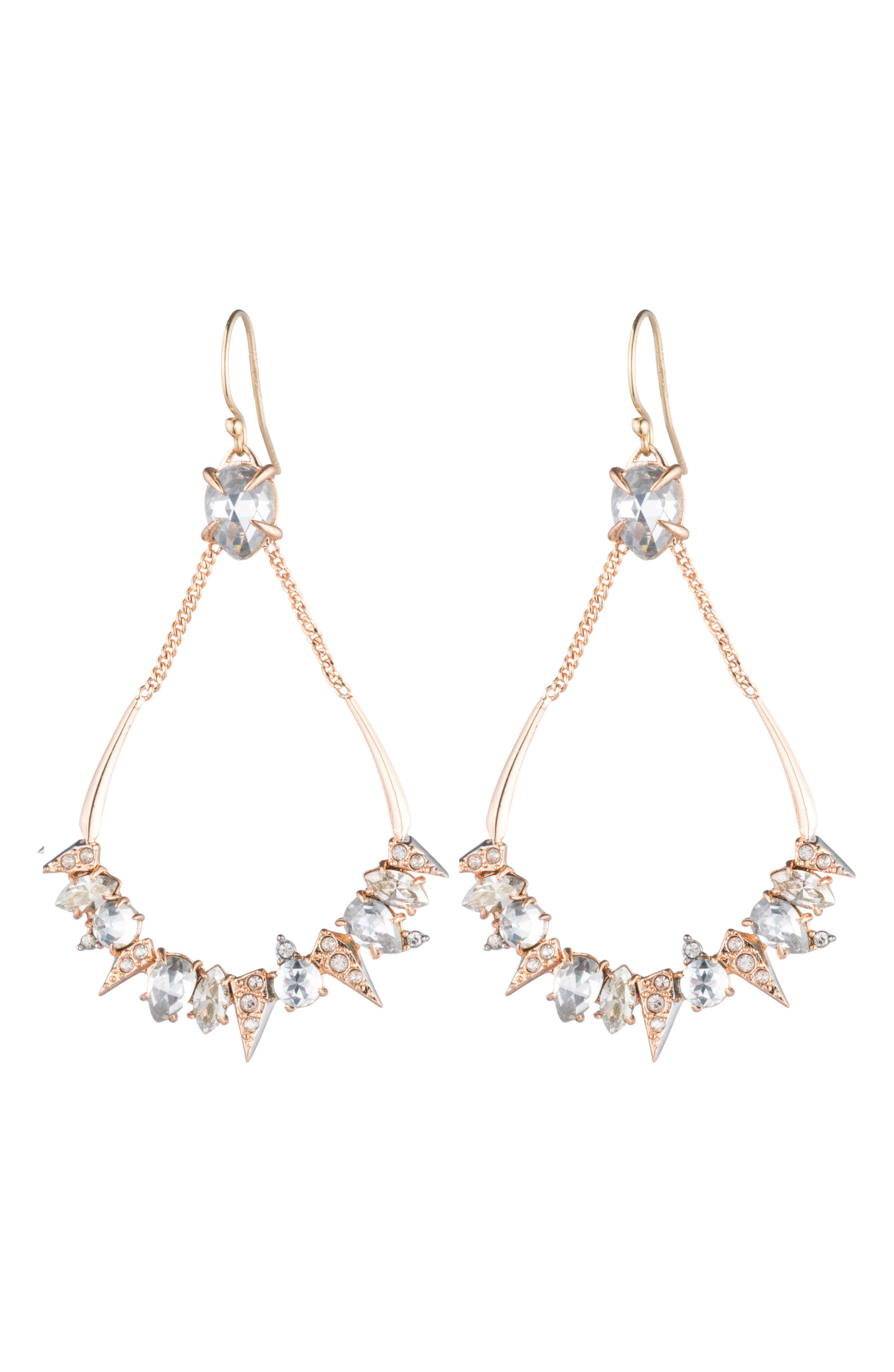 Crystal Encrusted Mosaic Drop Earrings,                             Alternate thumbnail 2, color,                             Rose Gold