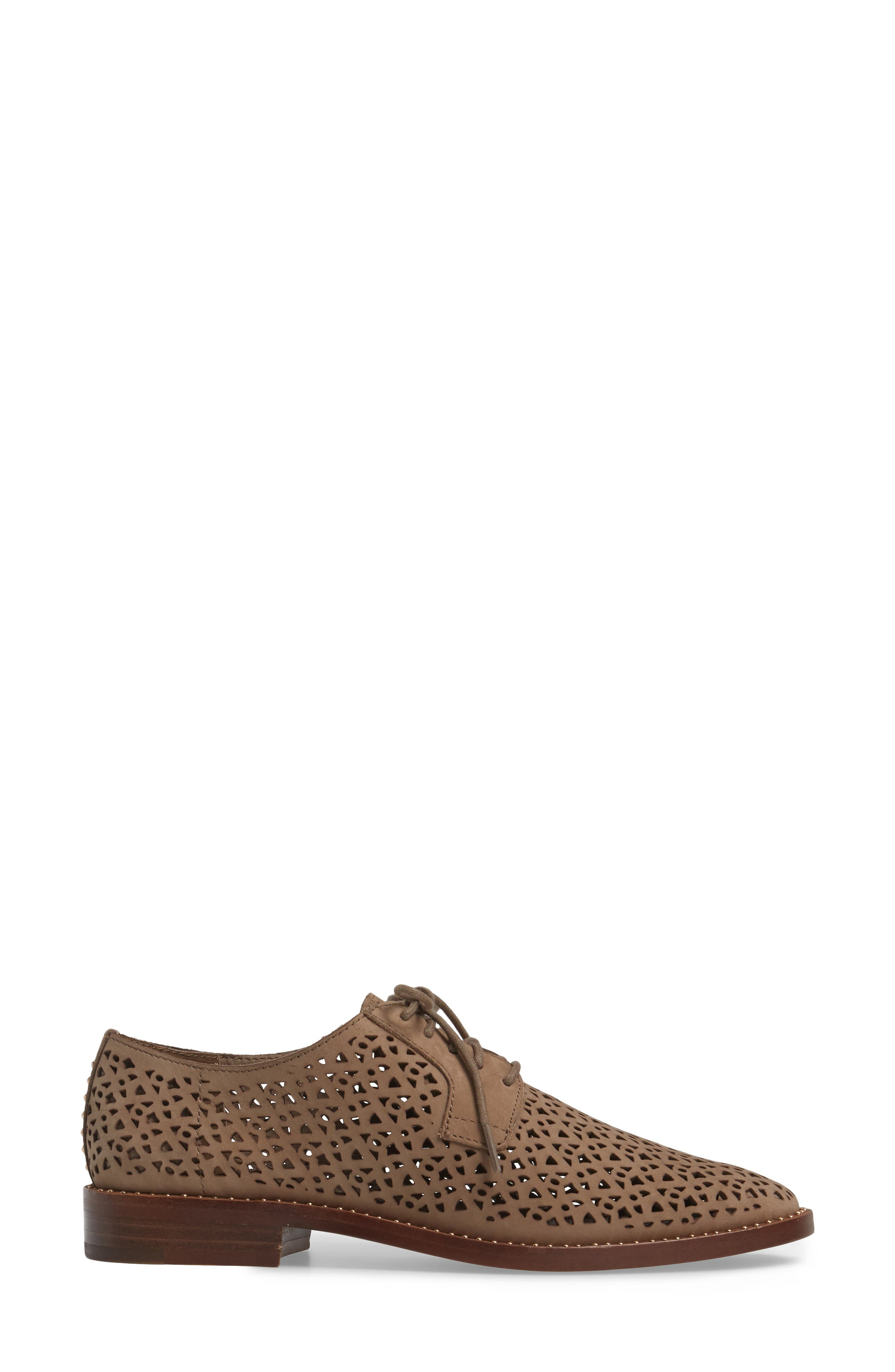 Lesta Geo Perforated Oxford,                             Alternate thumbnail 3, color,                             French Taupe Suede