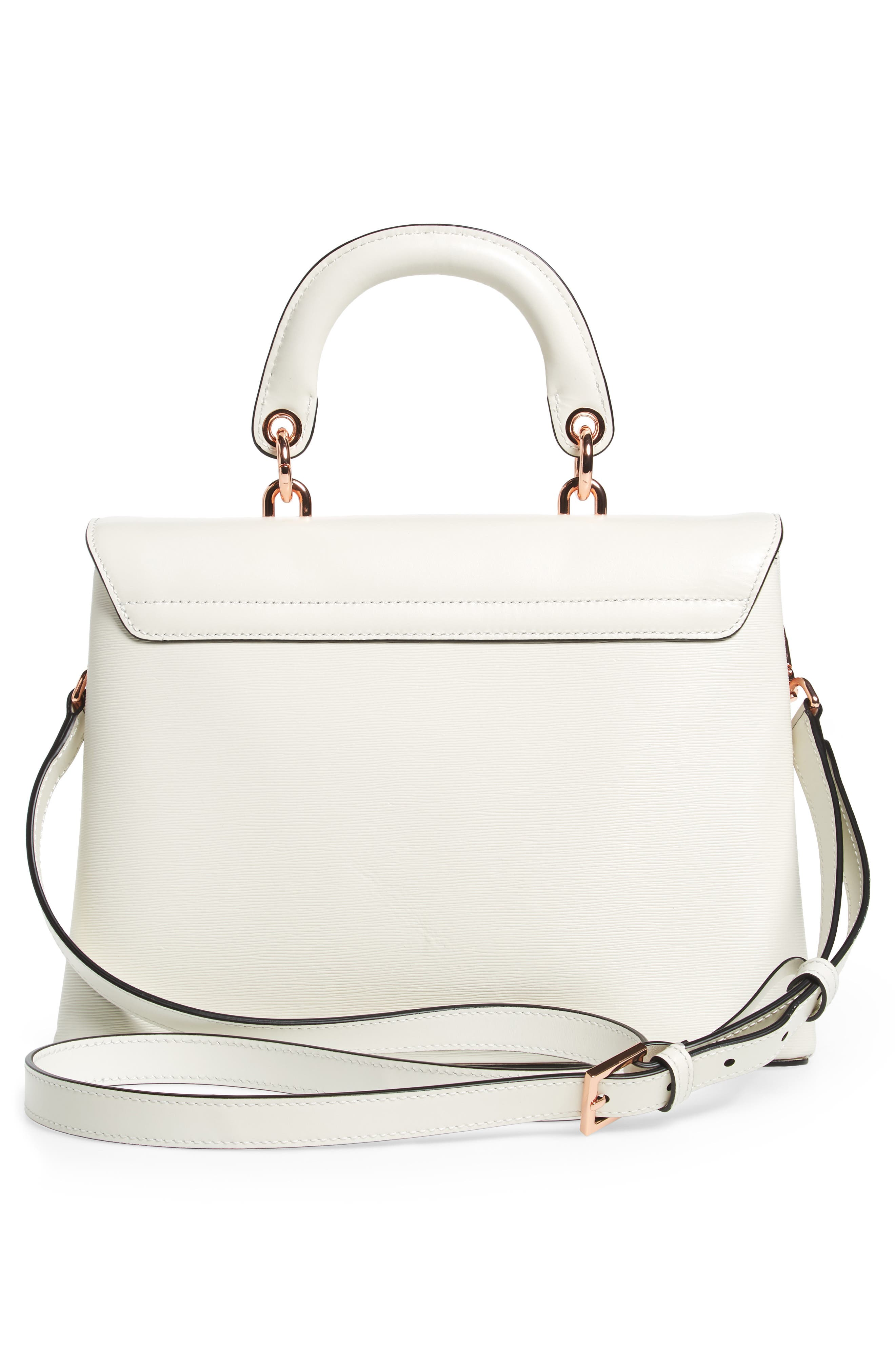 Lady Bow Flap Top Handle Leather Satchel,                             Alternate thumbnail 2, color,                             Ivory