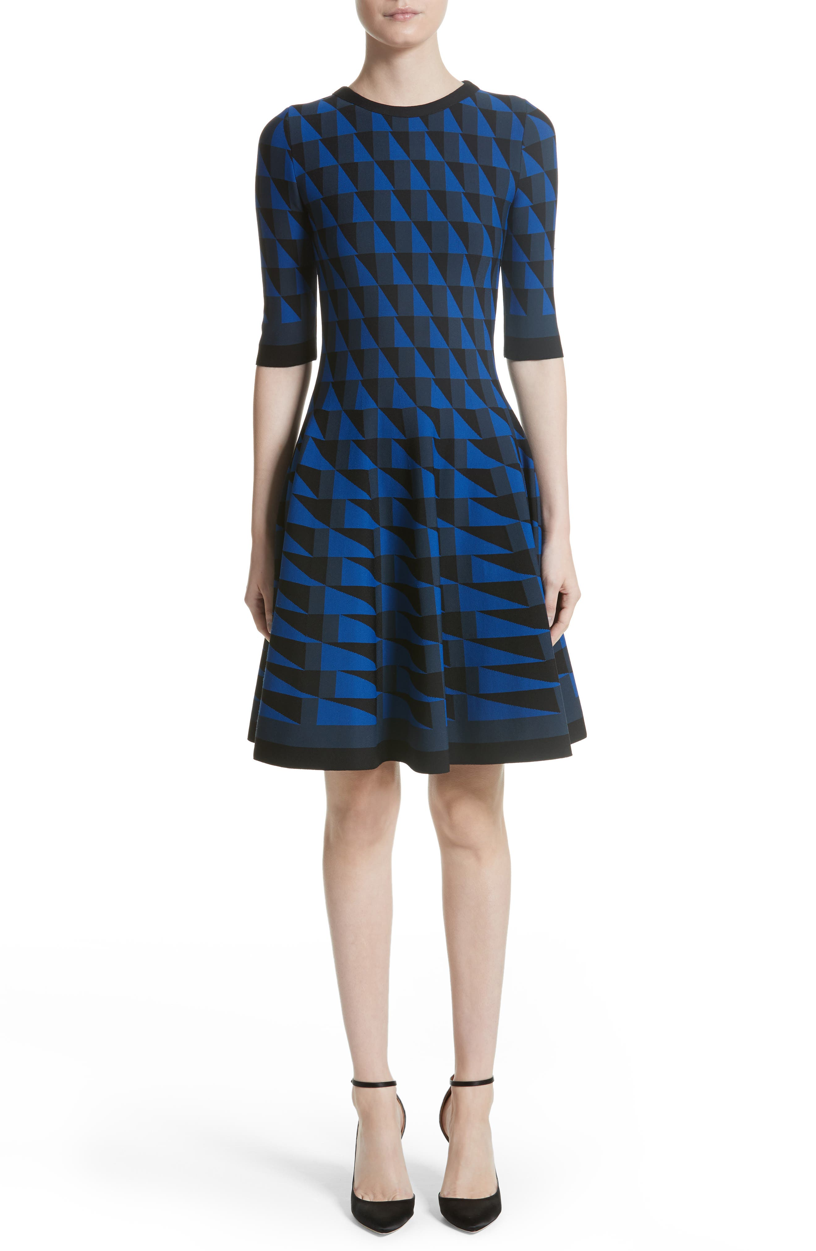 Graphic Compact Knit Fit & Flare Dress,                         Main,                         color, Black/ Navy/ Blue