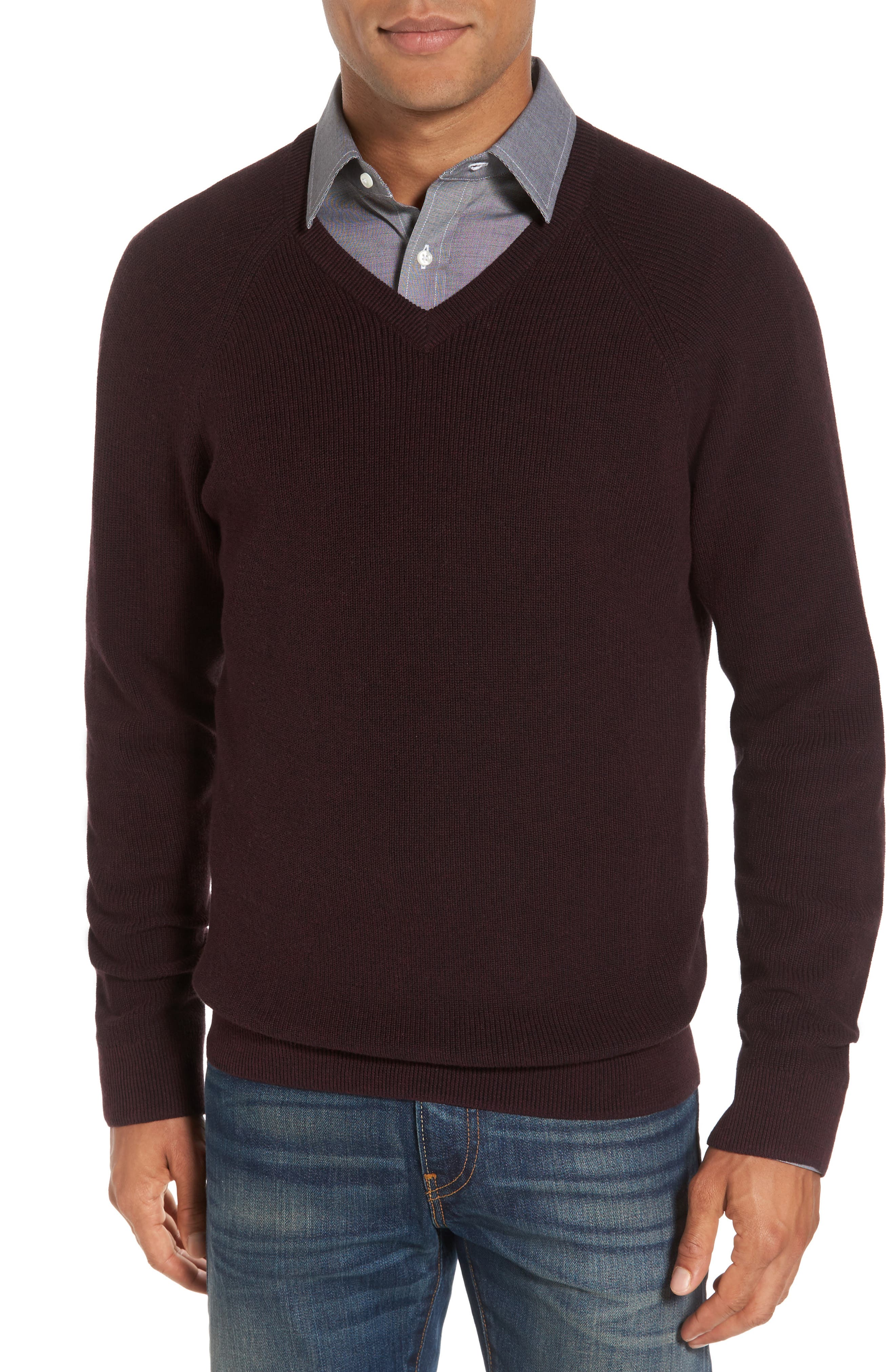 Nordstrom Men's Shop Supima® Cotton V-Neck Sweater