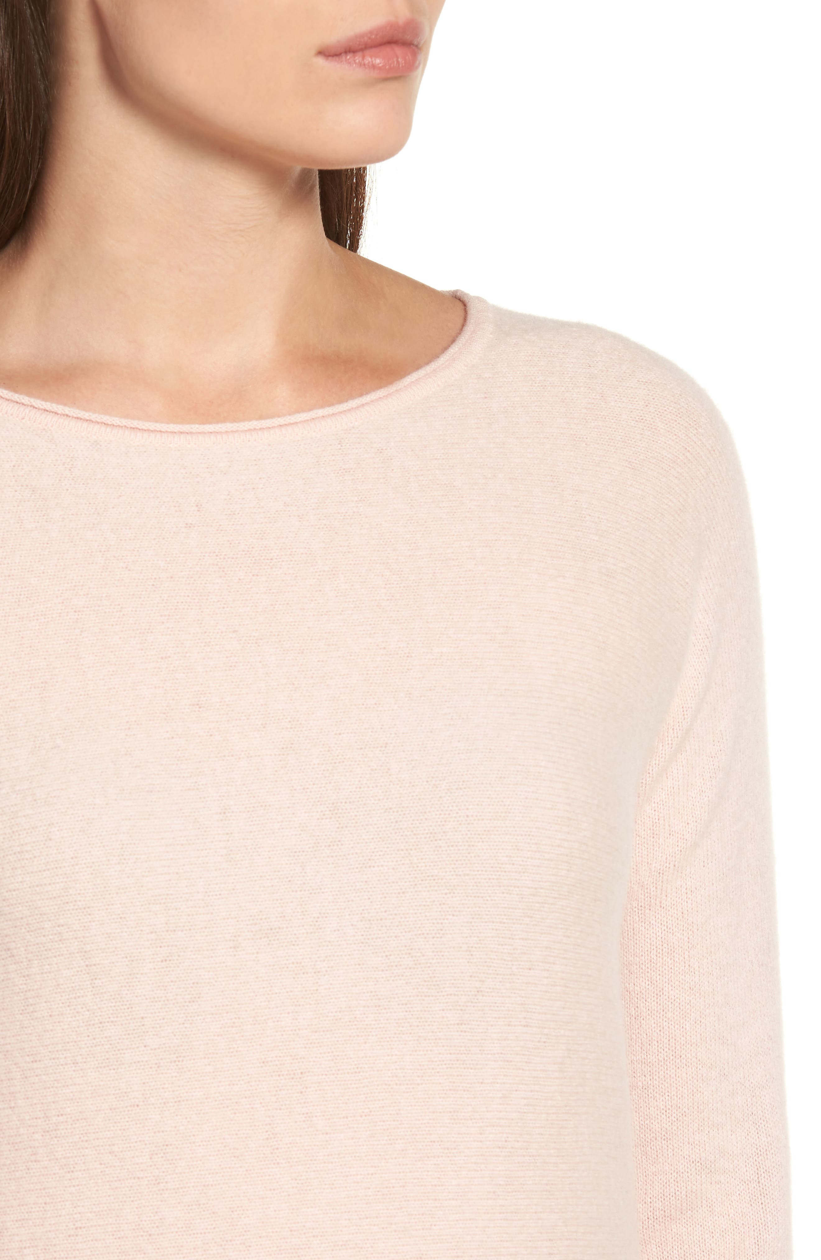 High/Low Wool & Cashmere Tunic Sweater,                             Alternate thumbnail 4, color,                             Pink Smoke