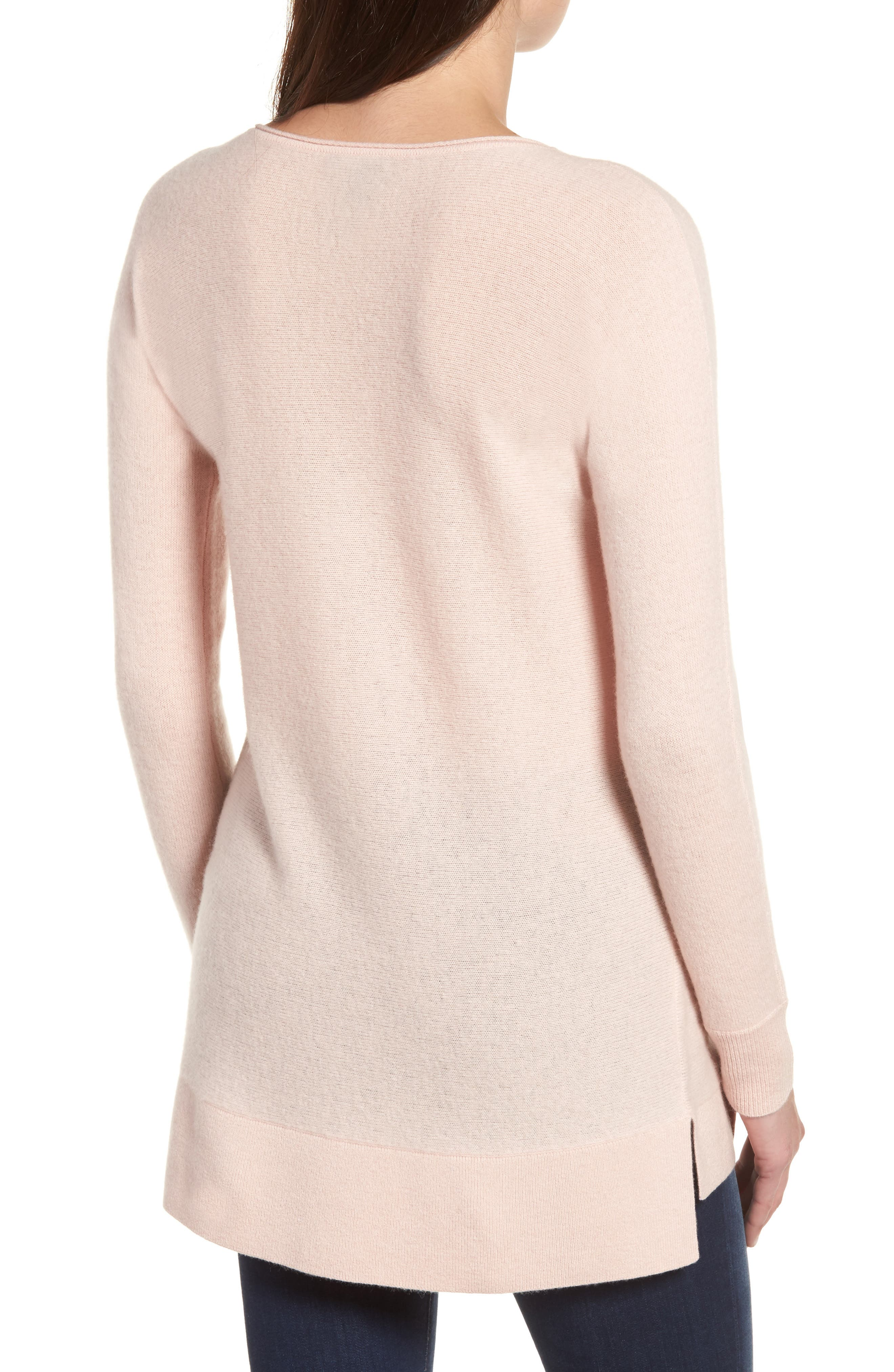 High/Low Wool & Cashmere Tunic Sweater,                             Alternate thumbnail 2, color,                             Pink Smoke