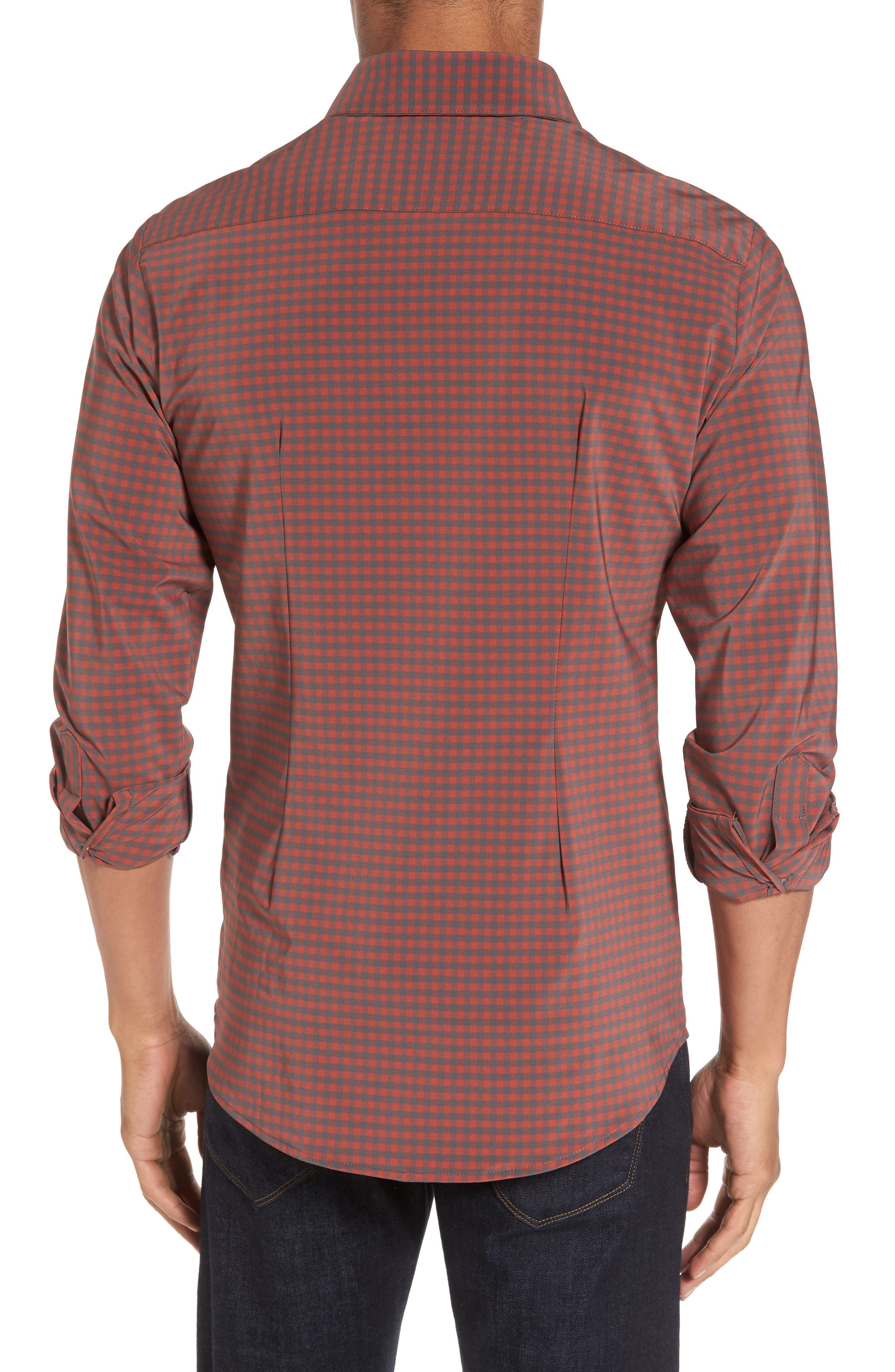 Douglas Grey & Chili Check Sport Shirt,                             Alternate thumbnail 3, color,                             Red