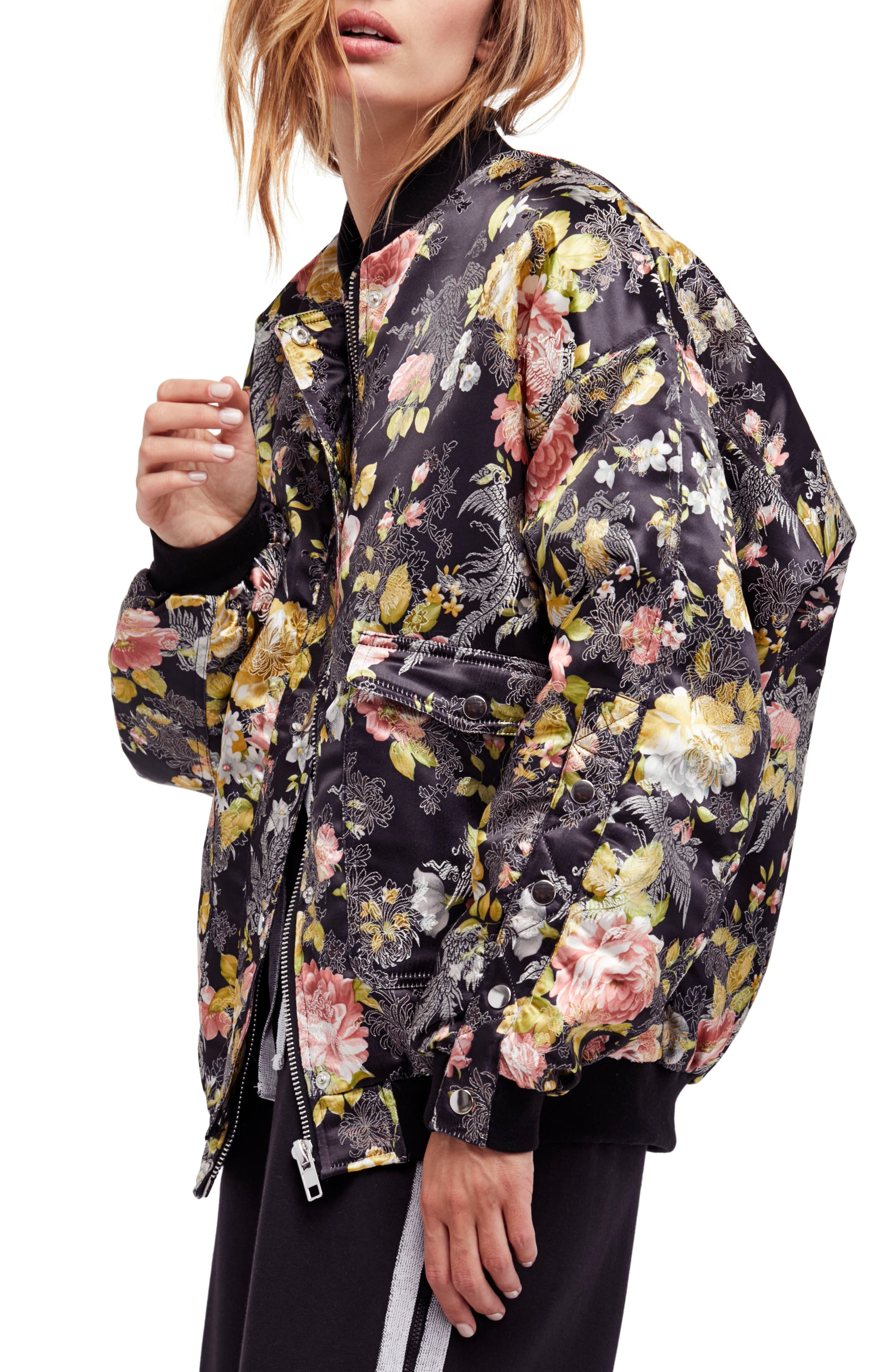 Floral Jacquard Bomber Jacket,                             Main thumbnail 1, color,                             Black Combo