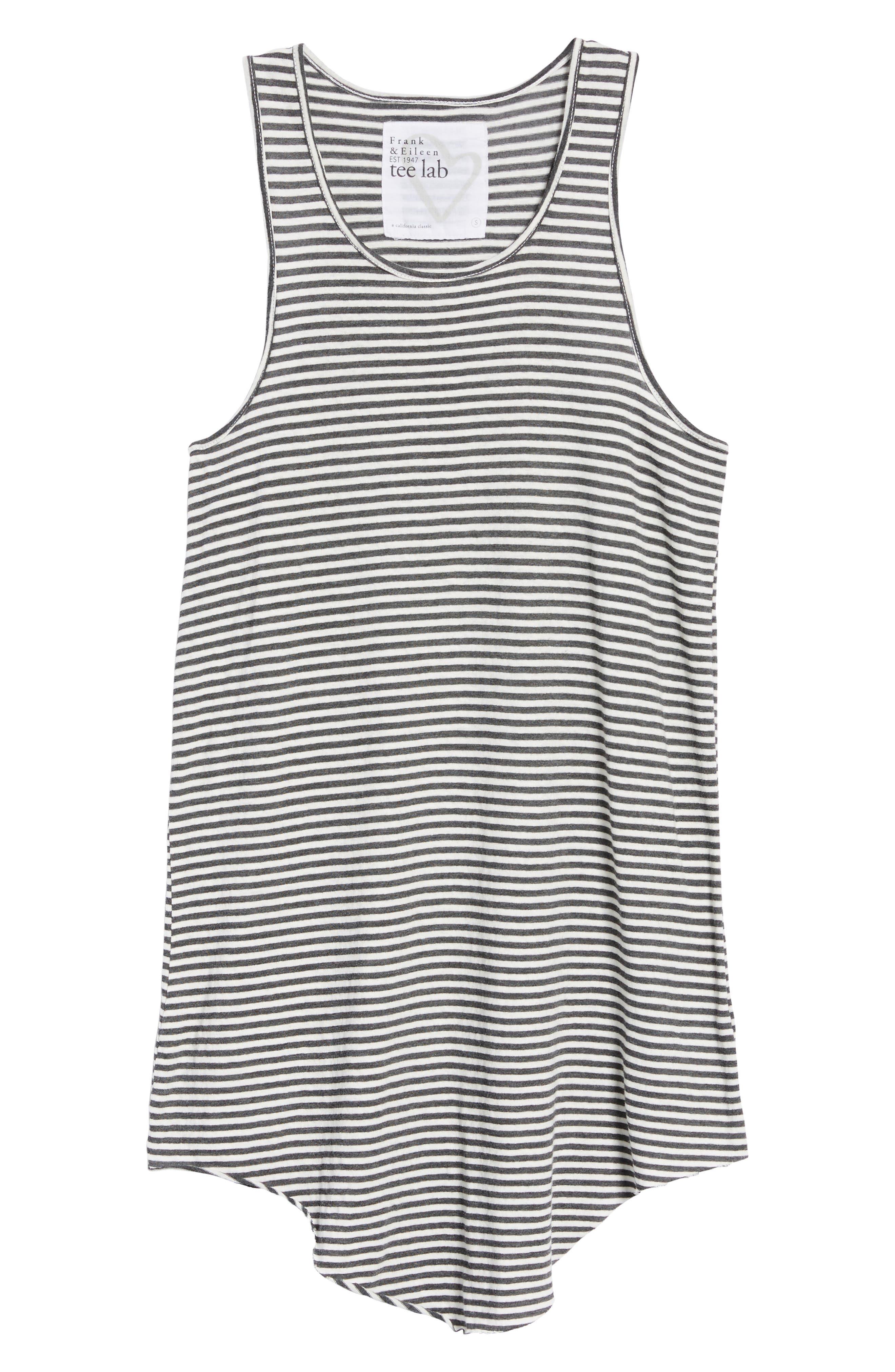 Stripe Long Layering Tank,                             Alternate thumbnail 6, color,                             Carbon Stripe