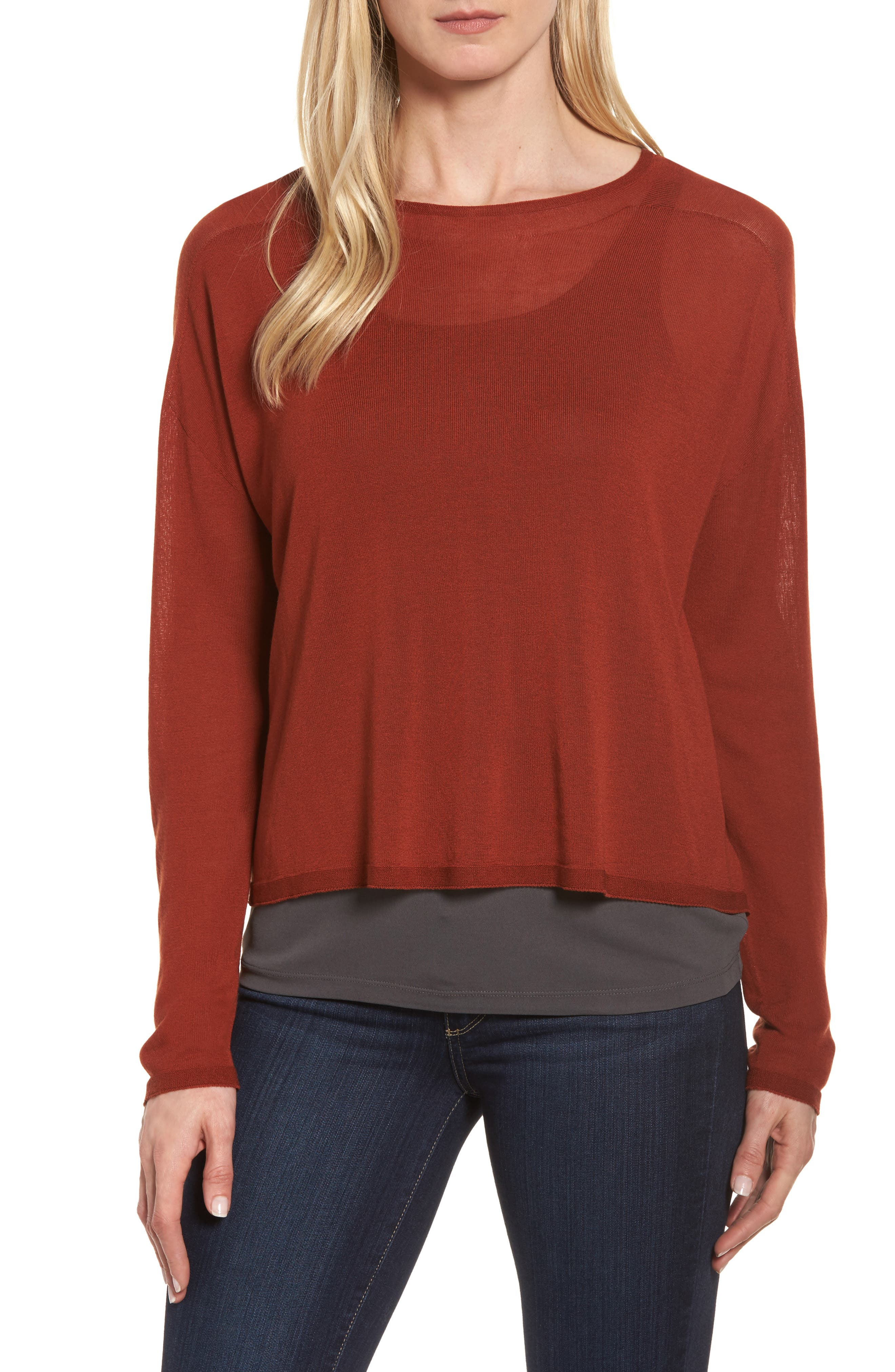 Tencel<sup>®</sup> Knit Dolman Top,                         Main,                         color, Paprika