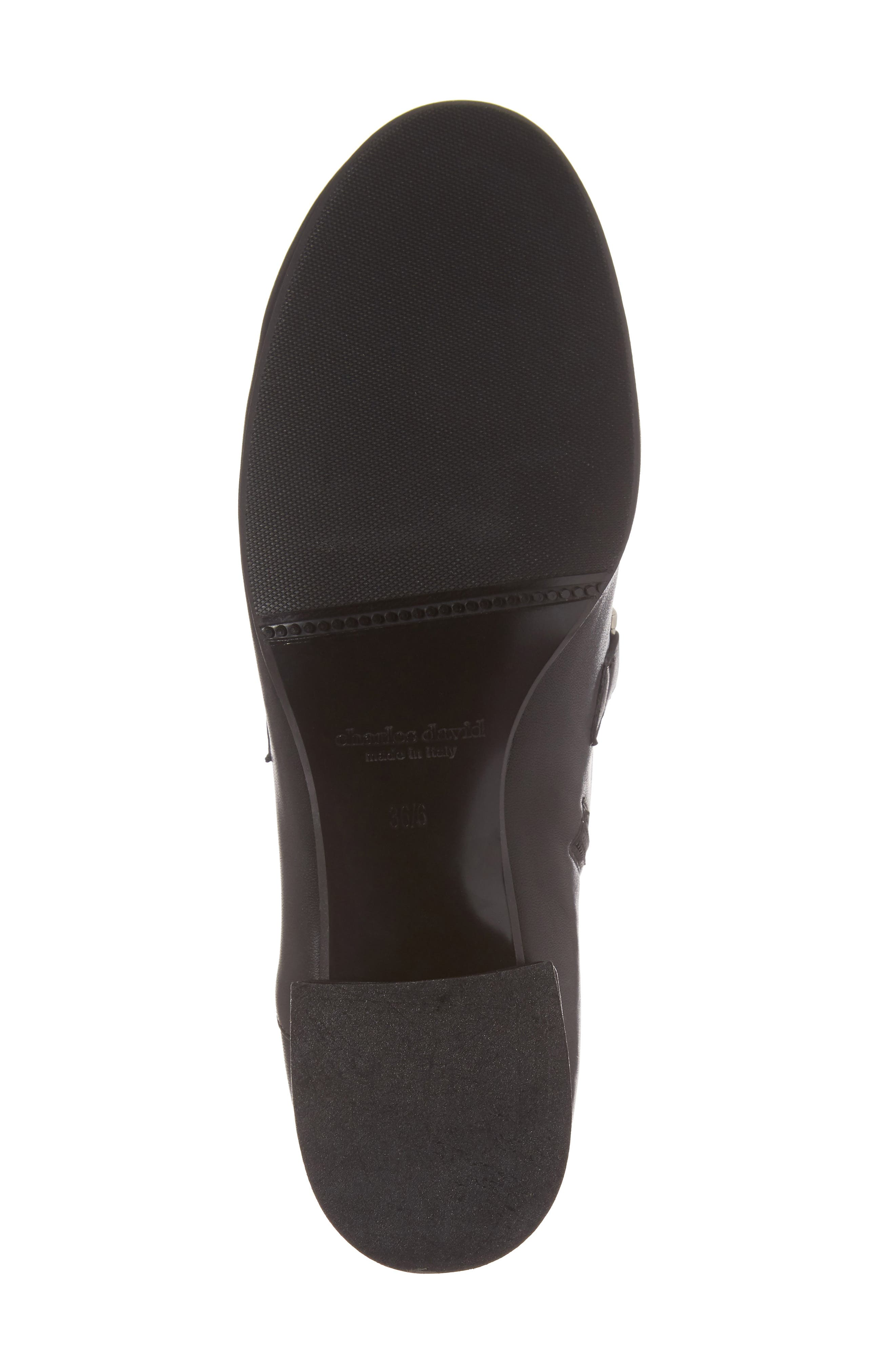 Mod Loafer Bootie,                             Alternate thumbnail 6, color,                             Black Stretch Leather