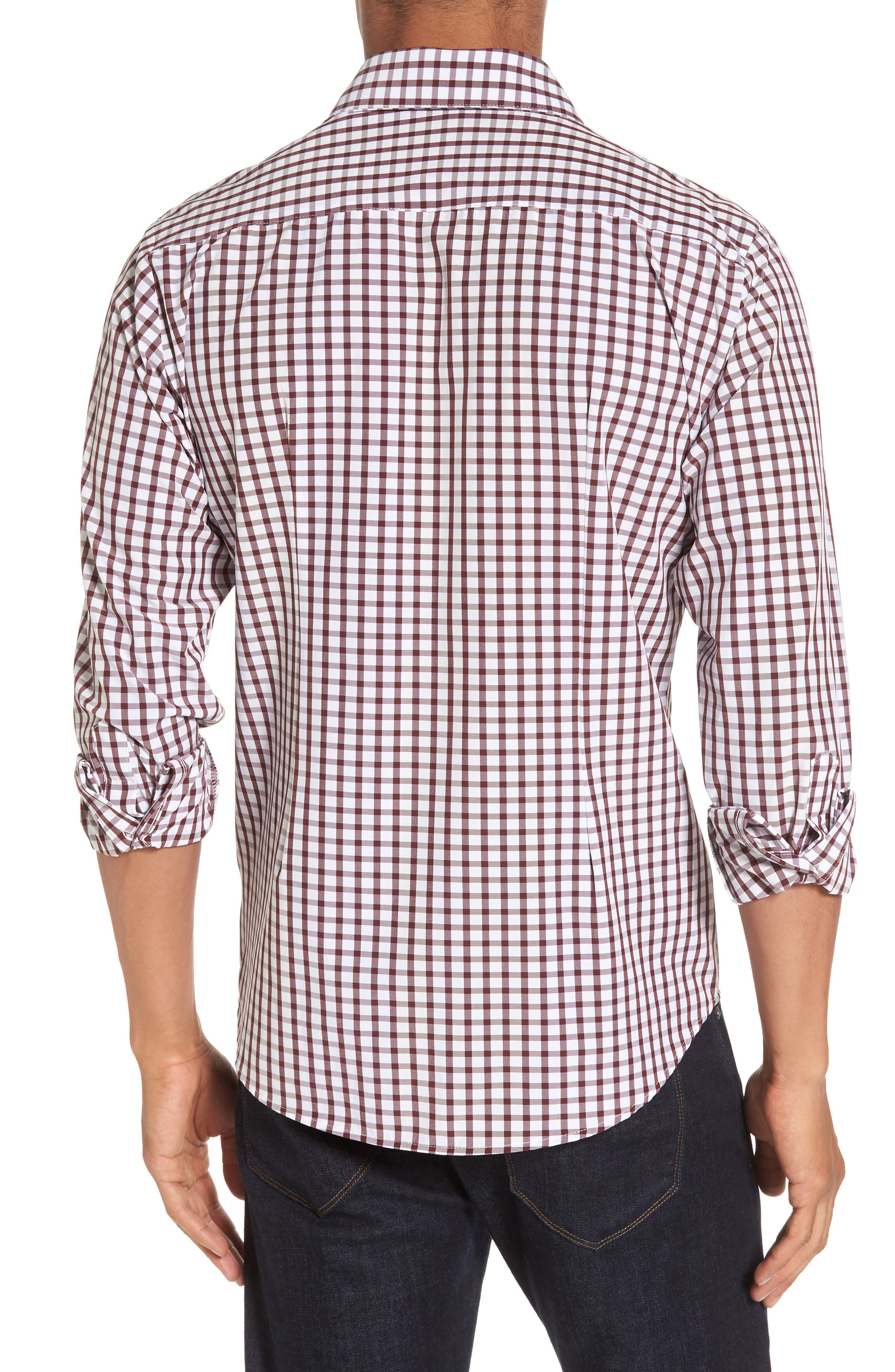 Cooper Check Performance Sport Shirt,                             Alternate thumbnail 2, color,                             Red