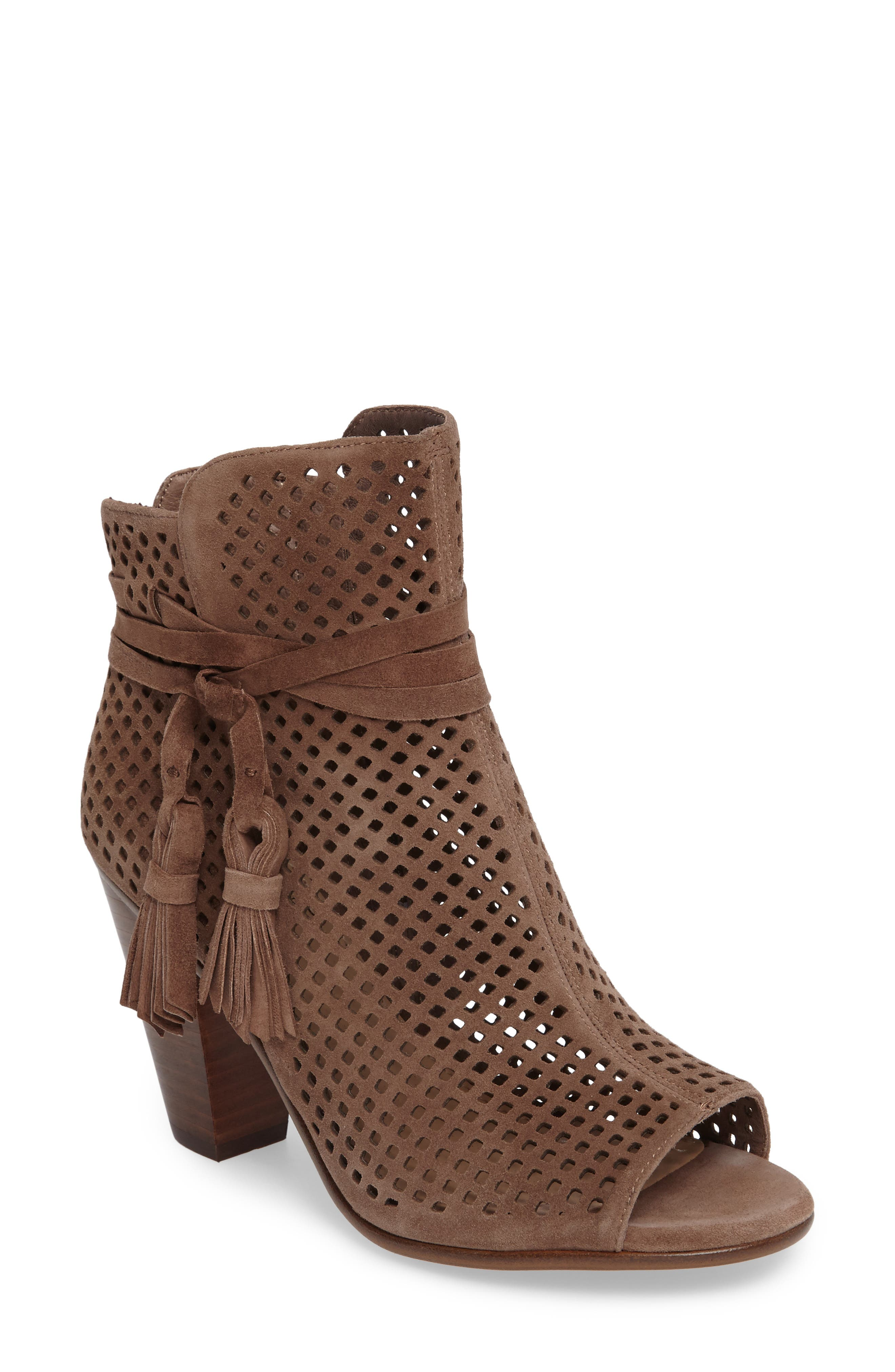 Kamey Perforated Open Toe Bootie,                             Main thumbnail 1, color,                             Phantom Suede