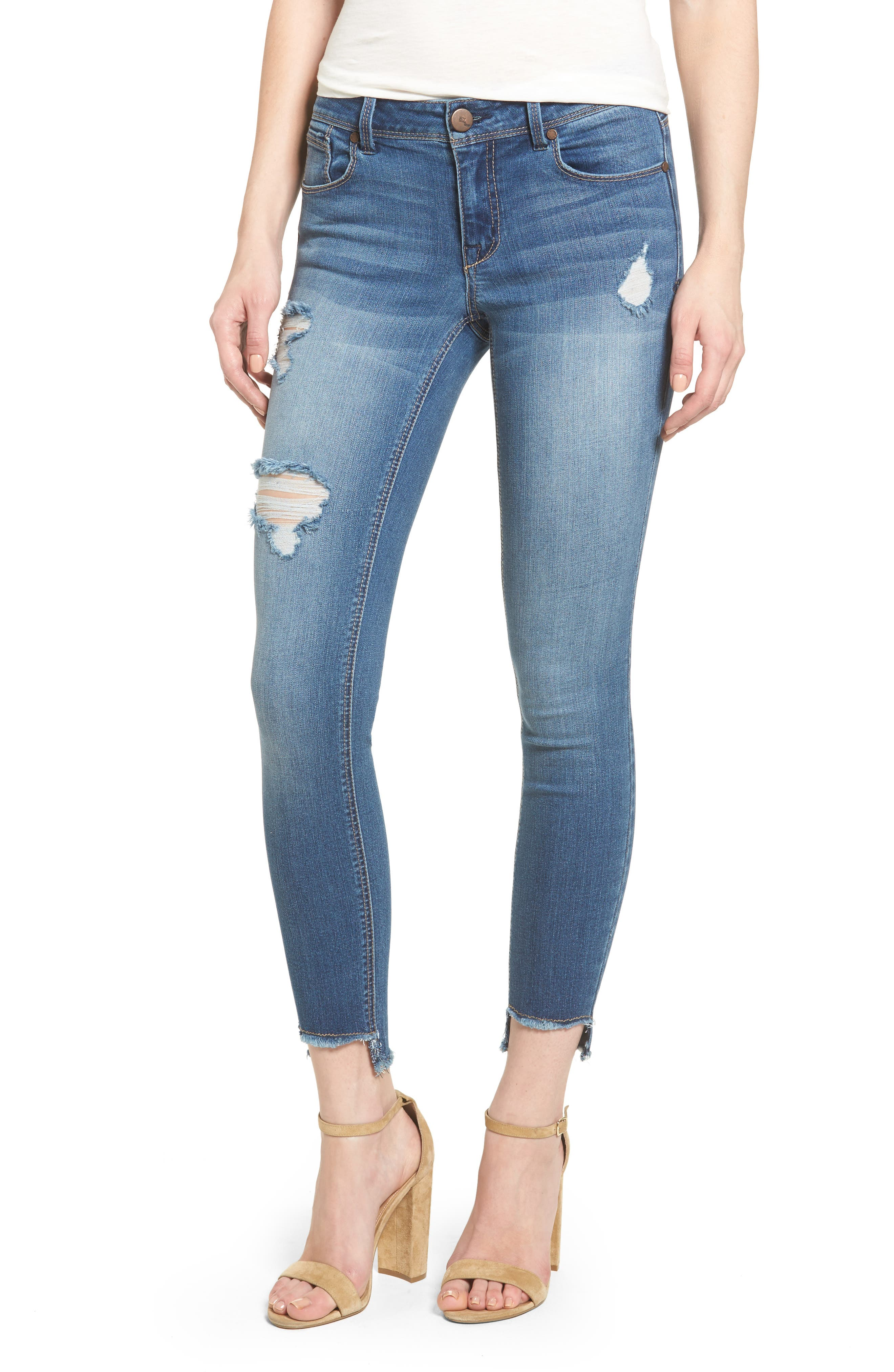 Alternate Image 1 Selected - 1822 Denim Step Hem Skinny Jeans (Greg)