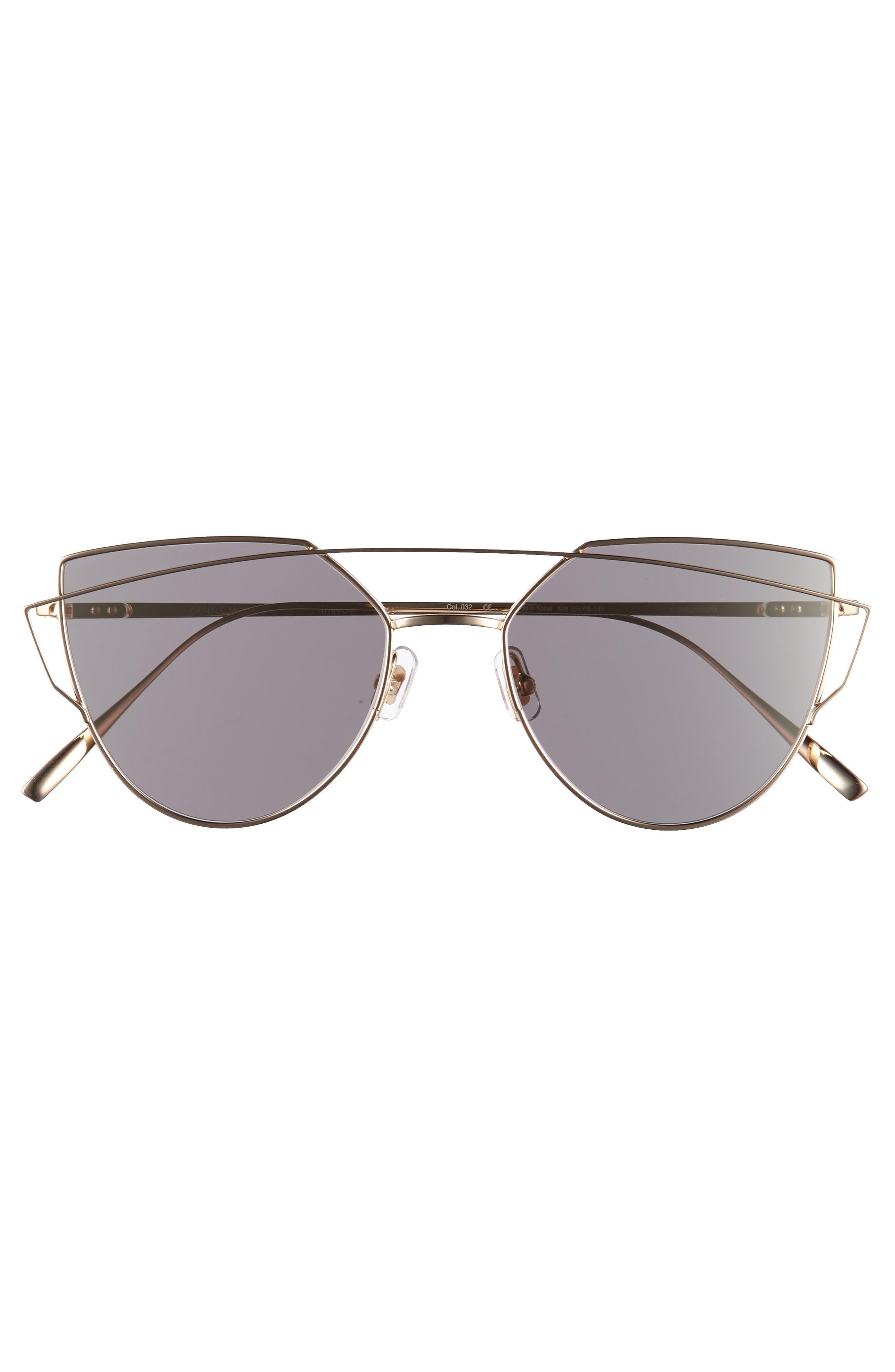Love Punch 55mm Titanium Aviator Sunglasses,                             Alternate thumbnail 3, color,                             Gold Mirror