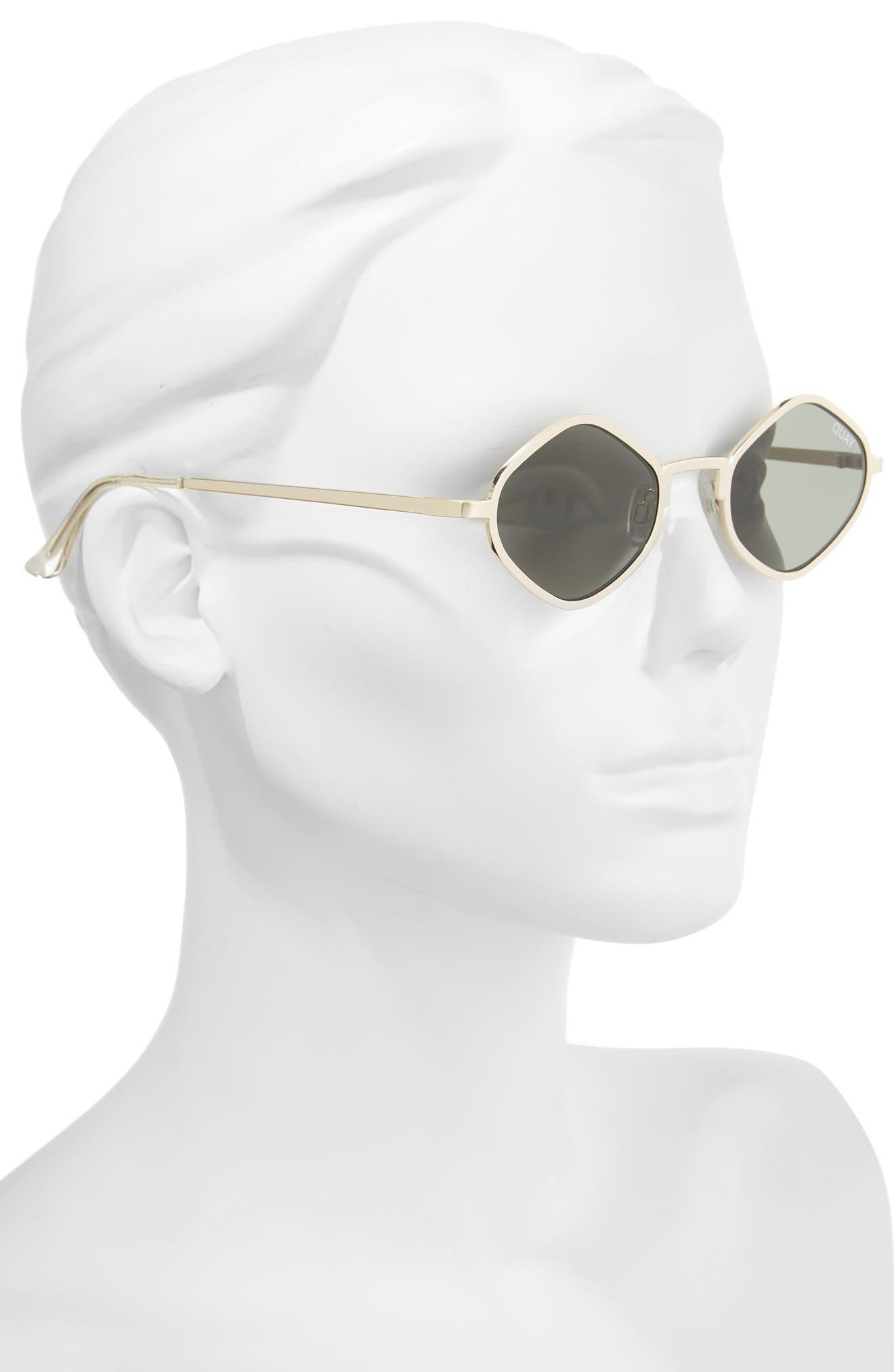 Purple Honey 48mm Geo Sunglasses,                             Alternate thumbnail 2, color,                             Gold/ Green
