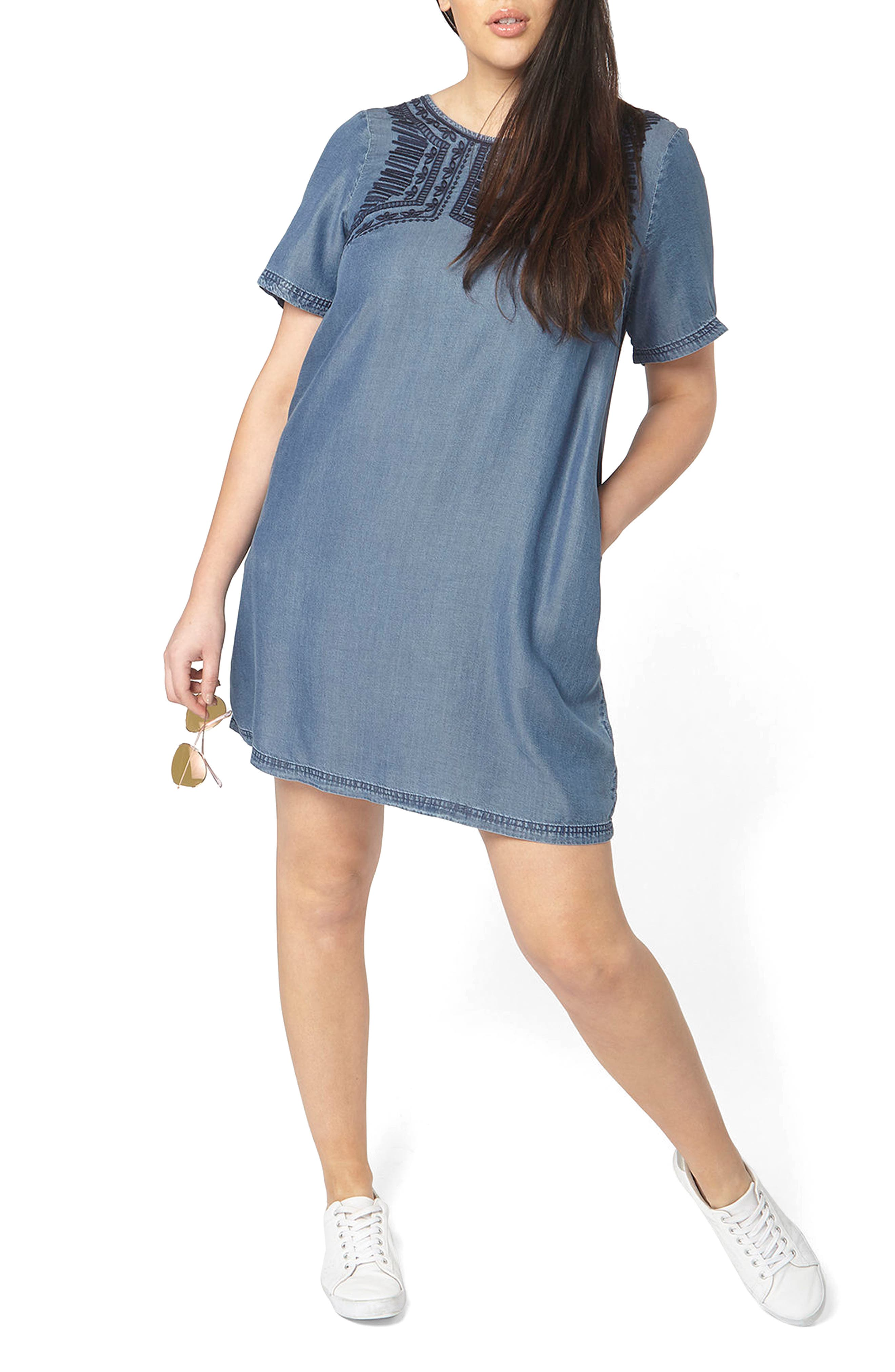 Embroidered Chambray Tunic Dress,                         Main,                         color, Blue