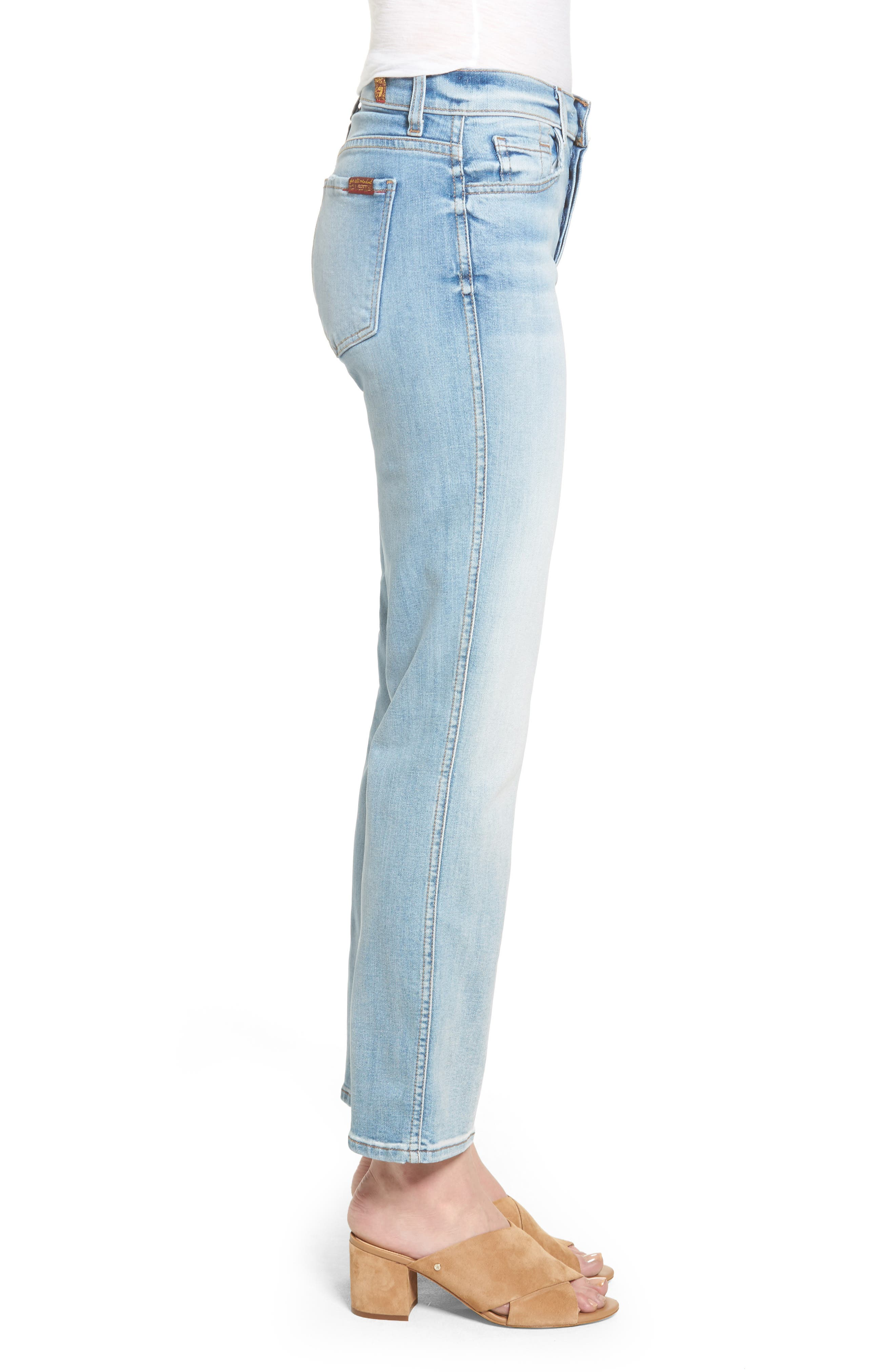 Alternate Image 3  - 7 For All Mankind® Edie High Waist Crop Jeans (Vintage Azure)