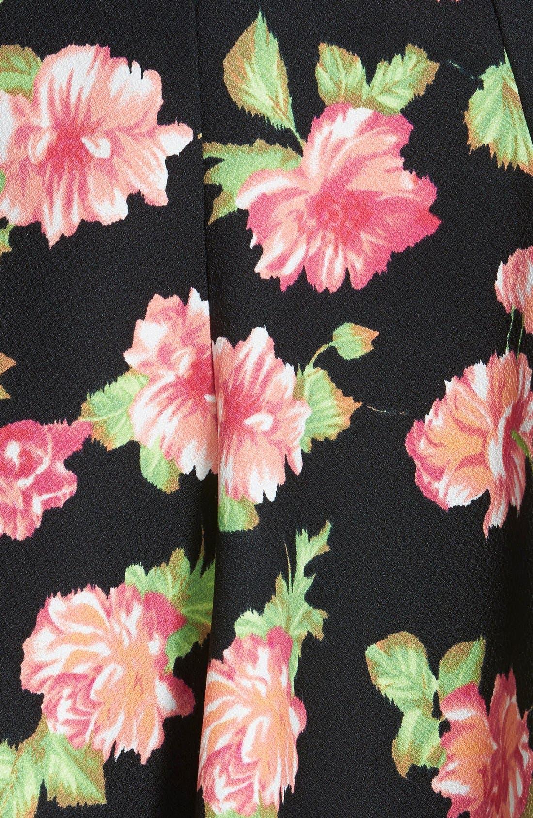 Floral Print Skater Skirt,                             Alternate thumbnail 3, color,                             Black/ Rose