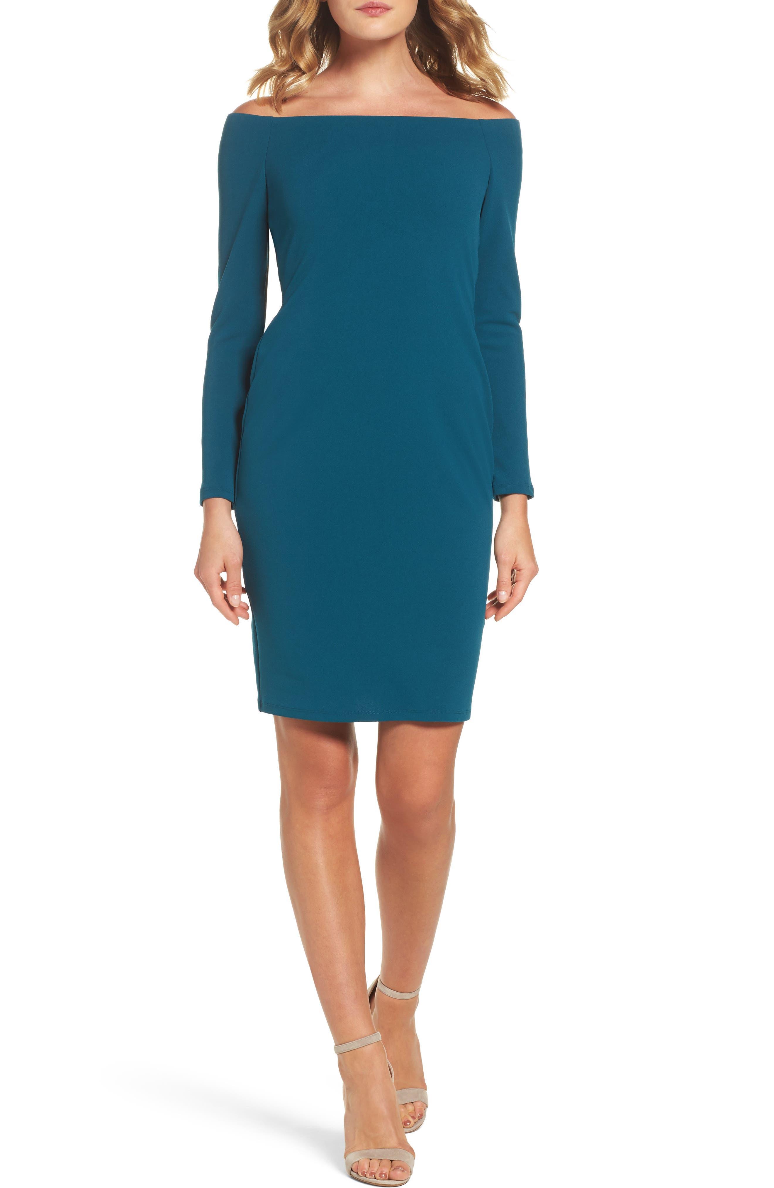 Eliza J Off the Shoulder Scuba Sheath Dress (Regular & Petite)