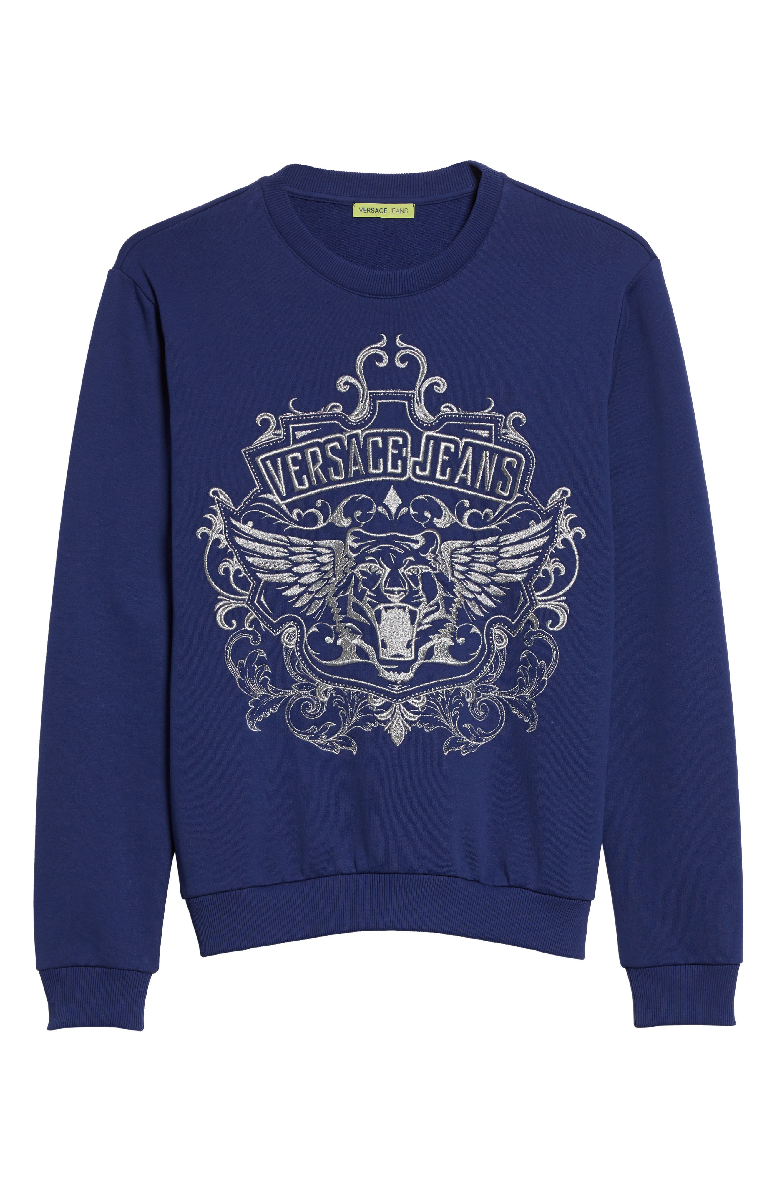 Embroidered Crewneck Sweatshirt,                             Alternate thumbnail 6, color,                             Blue