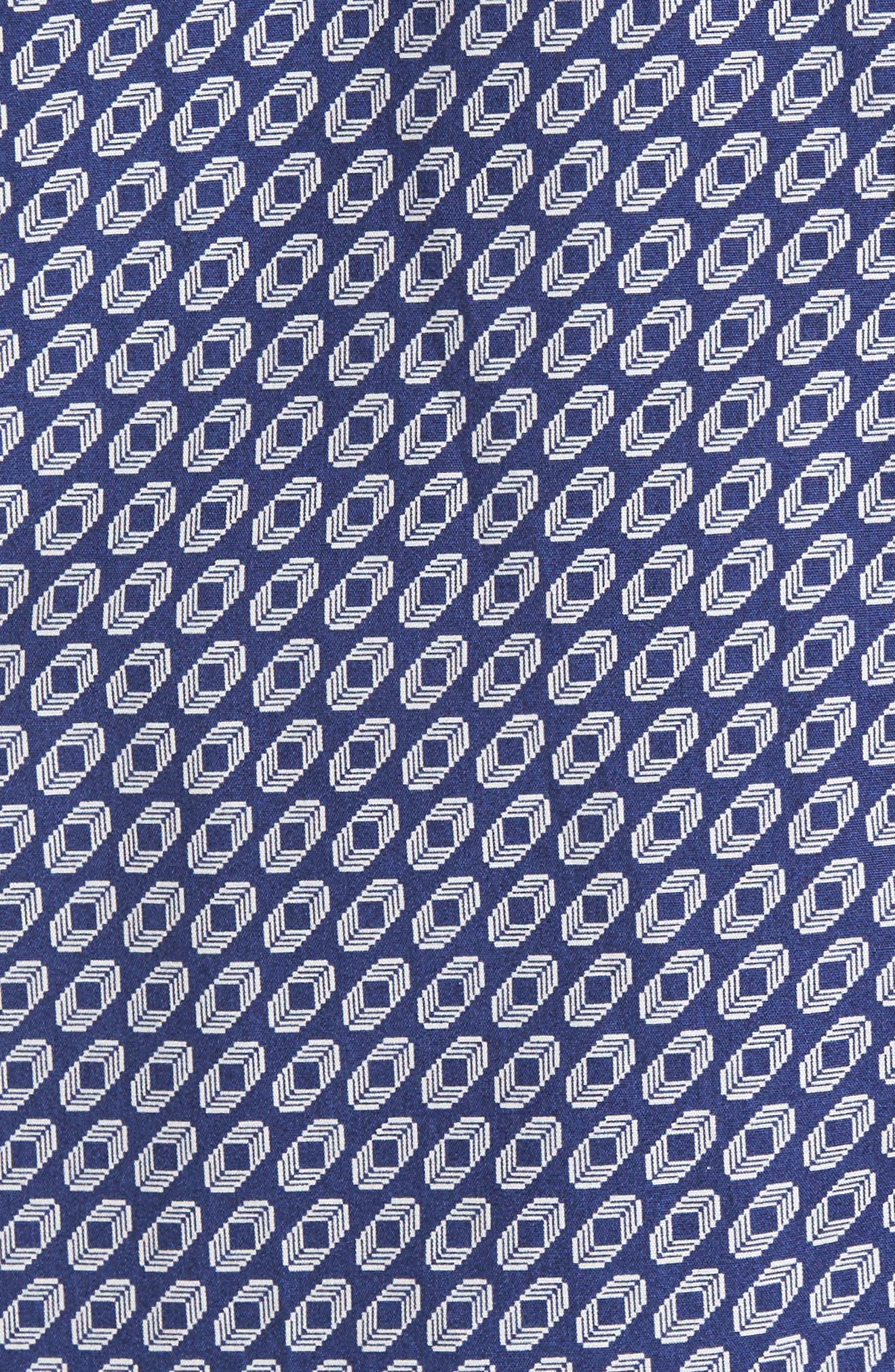 Shaped Fit Geo Print Sport Shirt,                             Alternate thumbnail 5, color,                             Navy