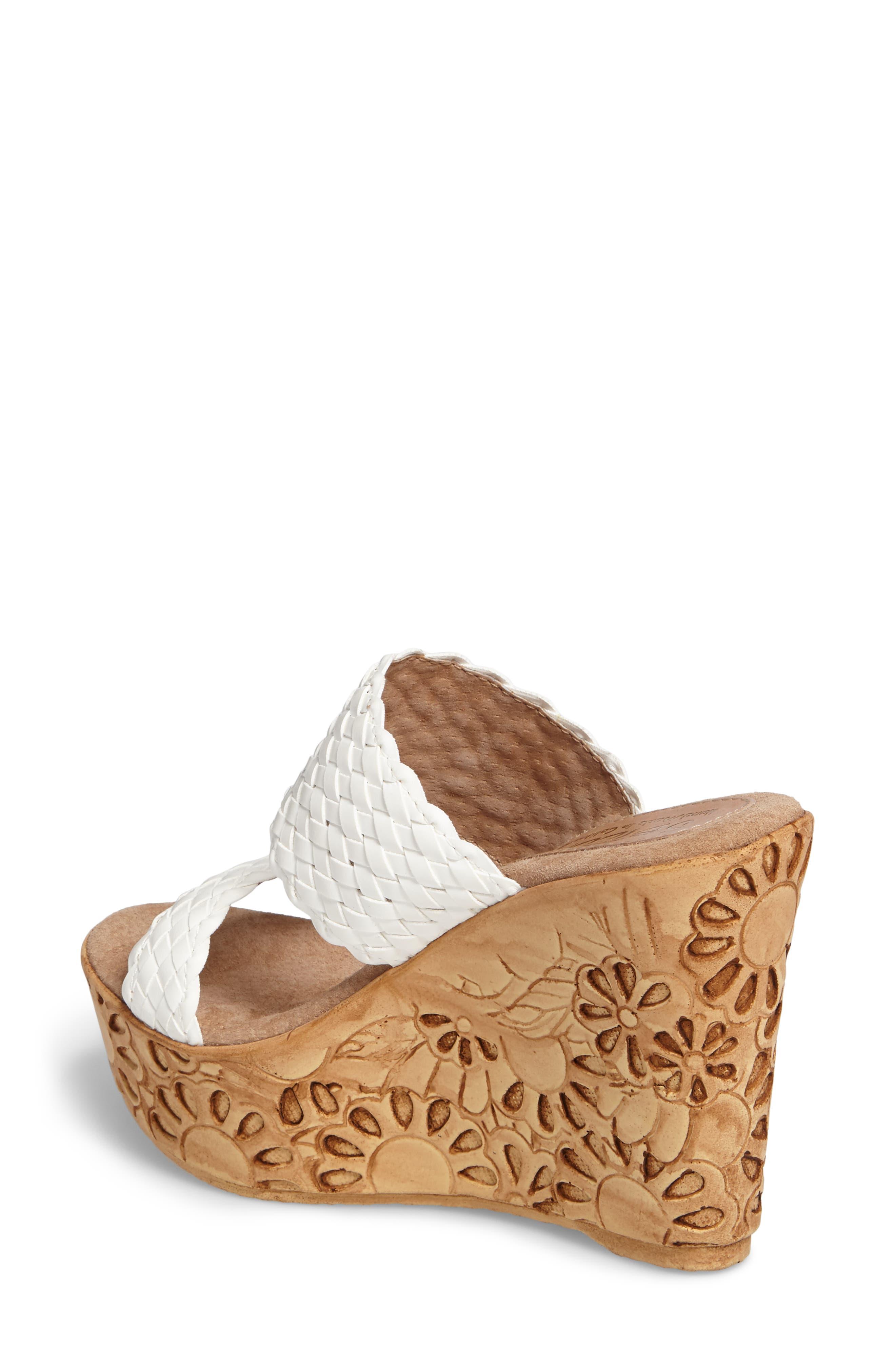Halima Platform Wedge Sandal,                             Alternate thumbnail 2, color,                             White Leather