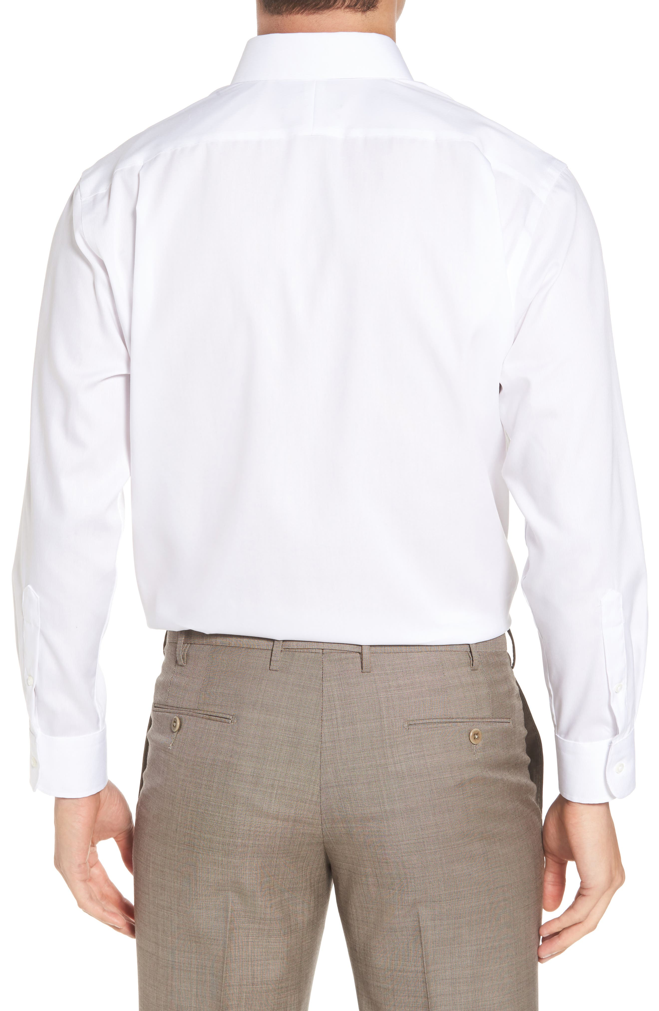 Traditional Fit Non-Iron Solid Dress Shirt,                             Alternate thumbnail 2, color,                             White