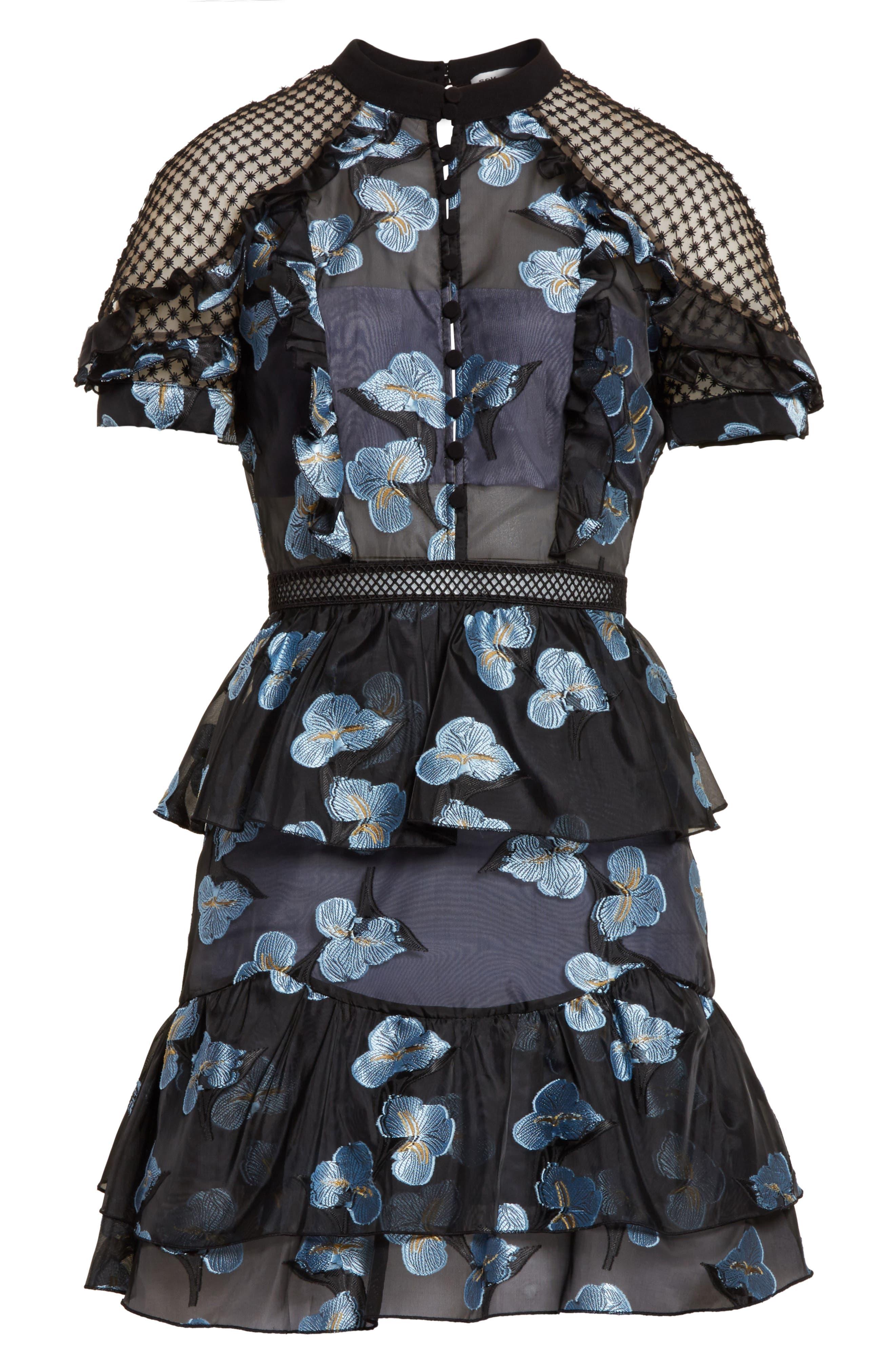 Ruffle Fil Coupé Minidress,                             Alternate thumbnail 6, color,                             Blue