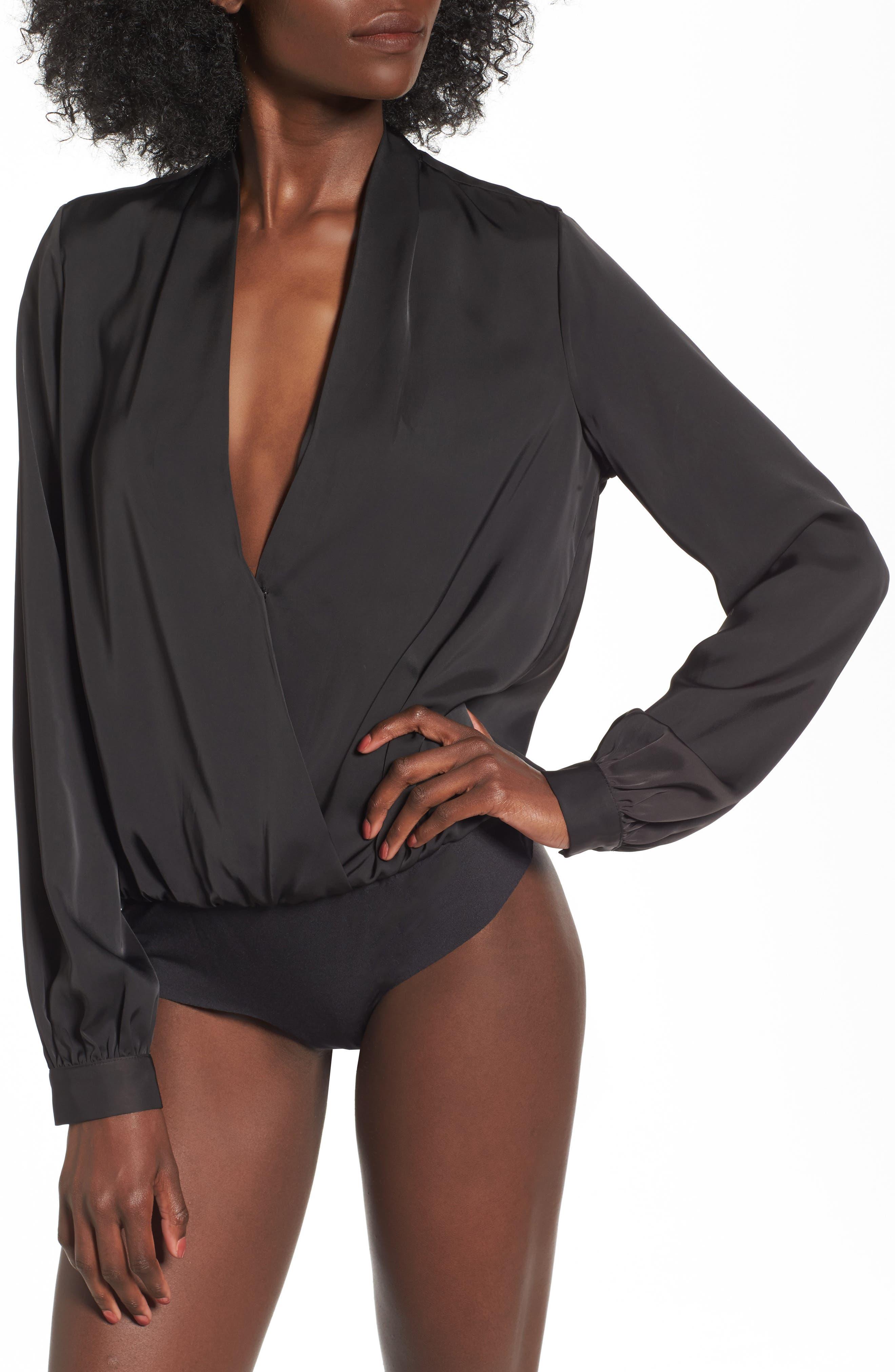 L'Academie The Long Sleeve Bodysuit,                             Alternate thumbnail 4, color,                             Black