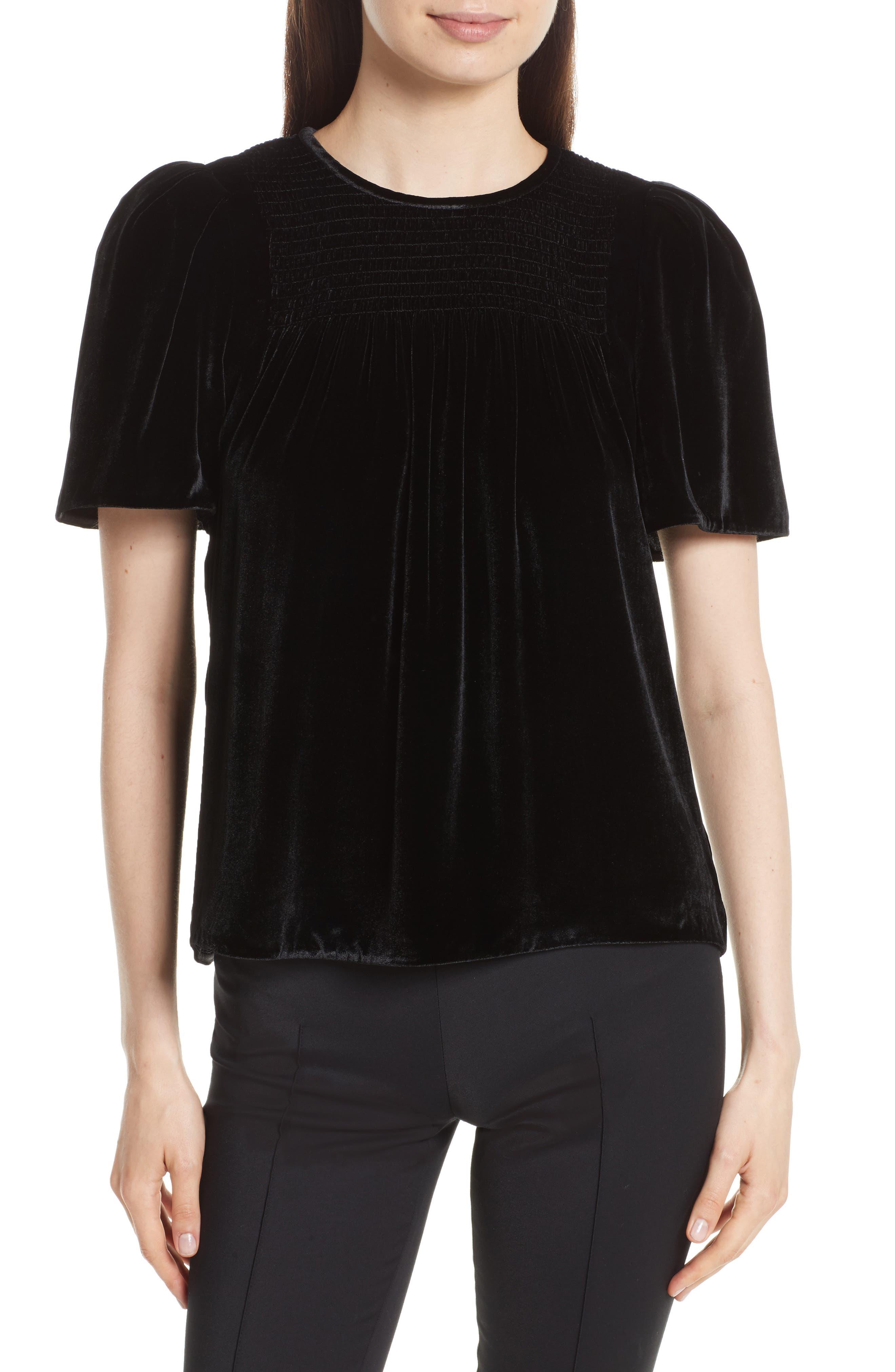 Short Sleeve Velvet Top,                         Main,                         color, Black