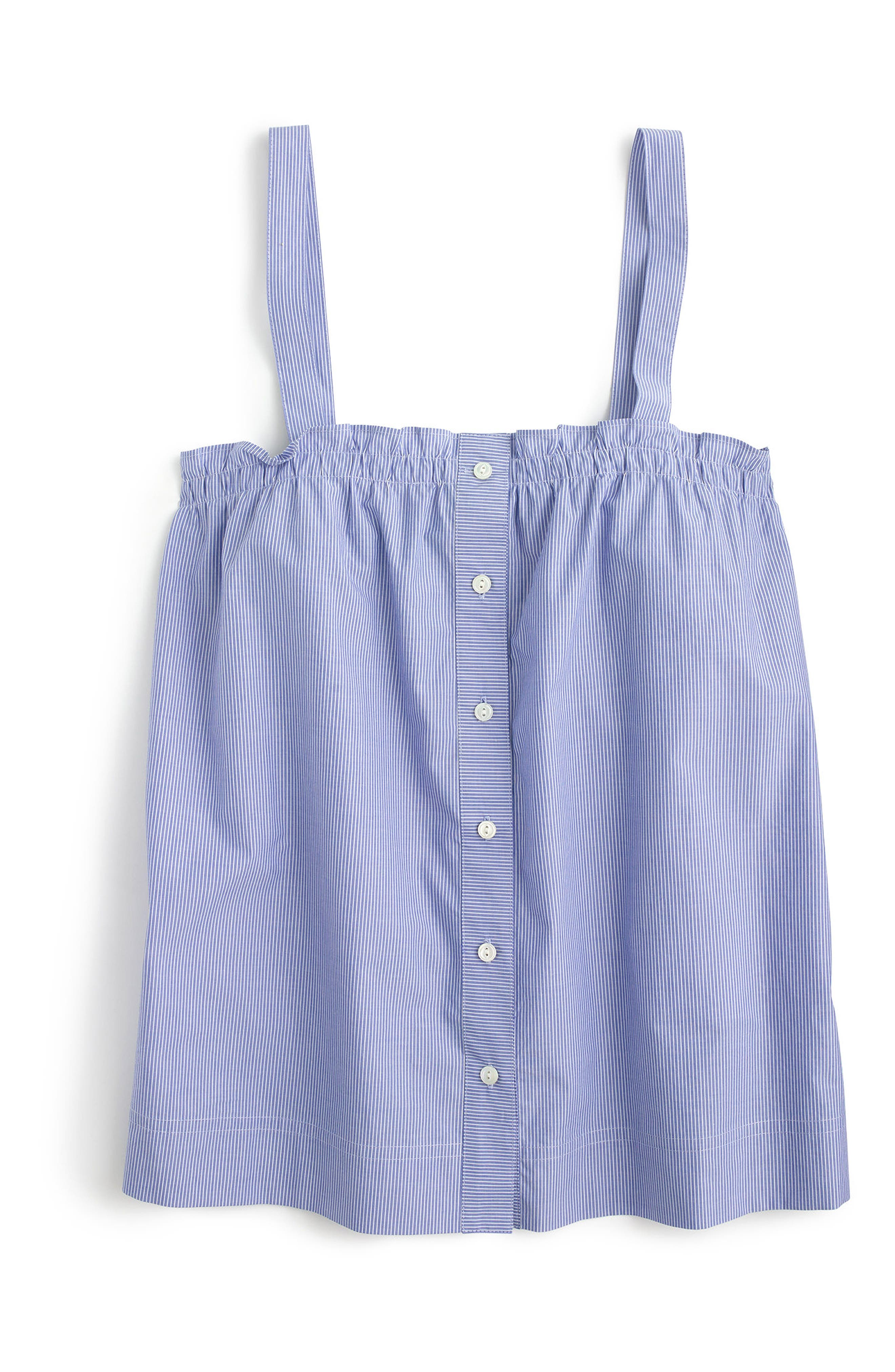 Alternate Image 1 Selected - J.Crew Button Front Ruffle Top (Regular & Petite)