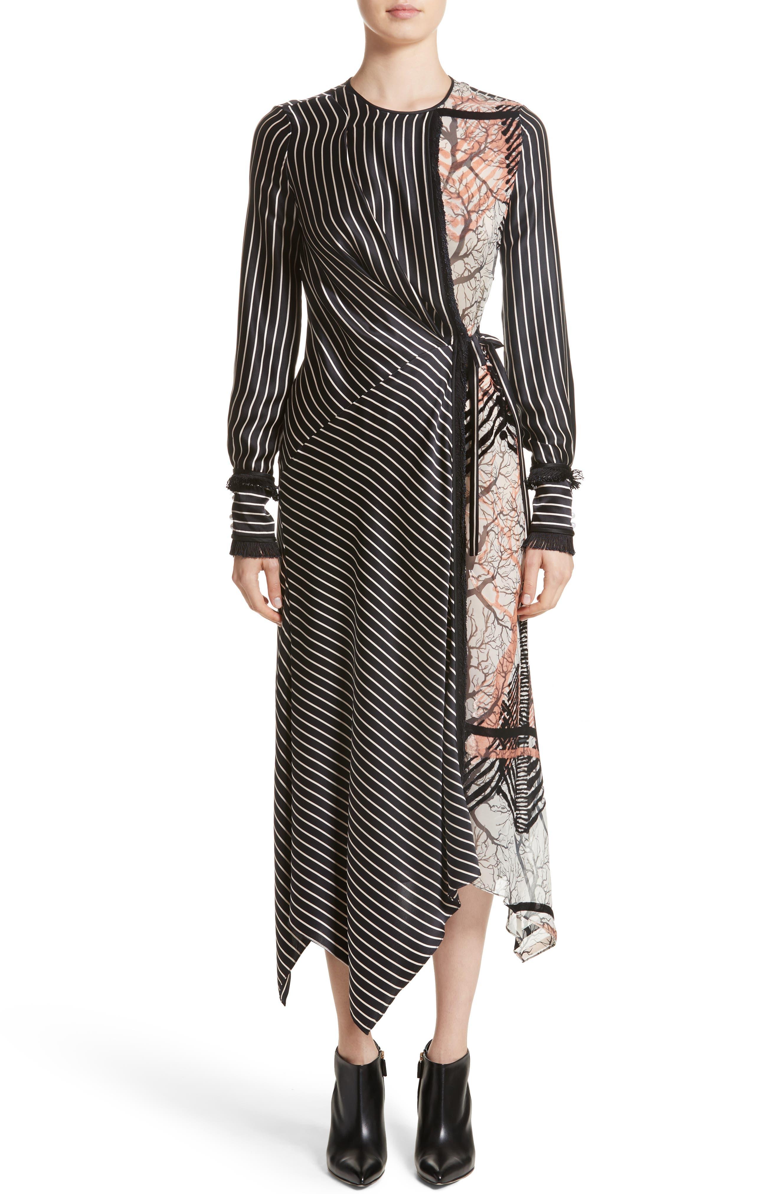 Fringe Trim Asymmetrical Stripe Silk Dress,                         Main,                         color, Black
