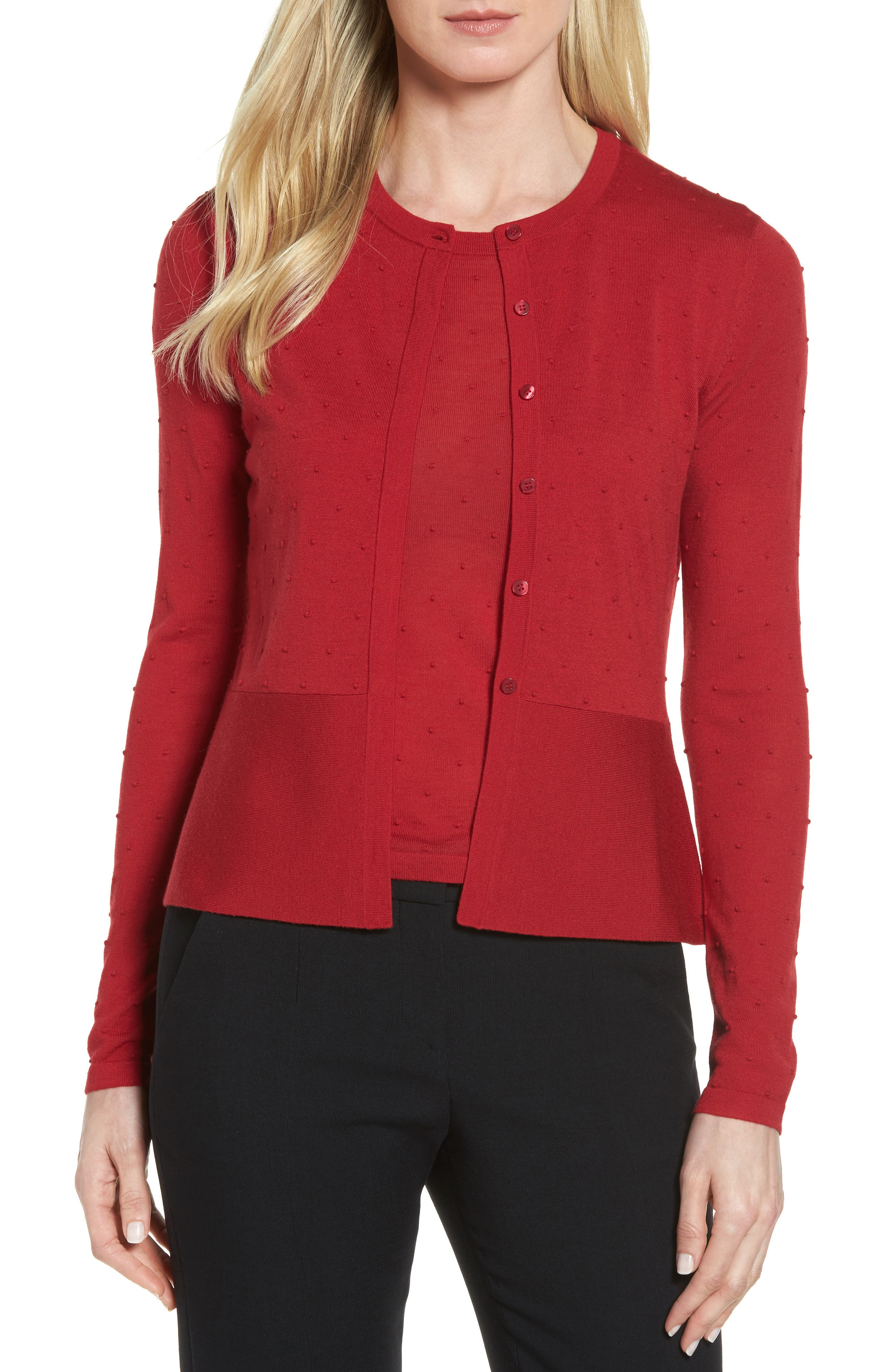 Faithe Wool Dot Jacquard Cardigan,                         Main,                         color, Pomegranate